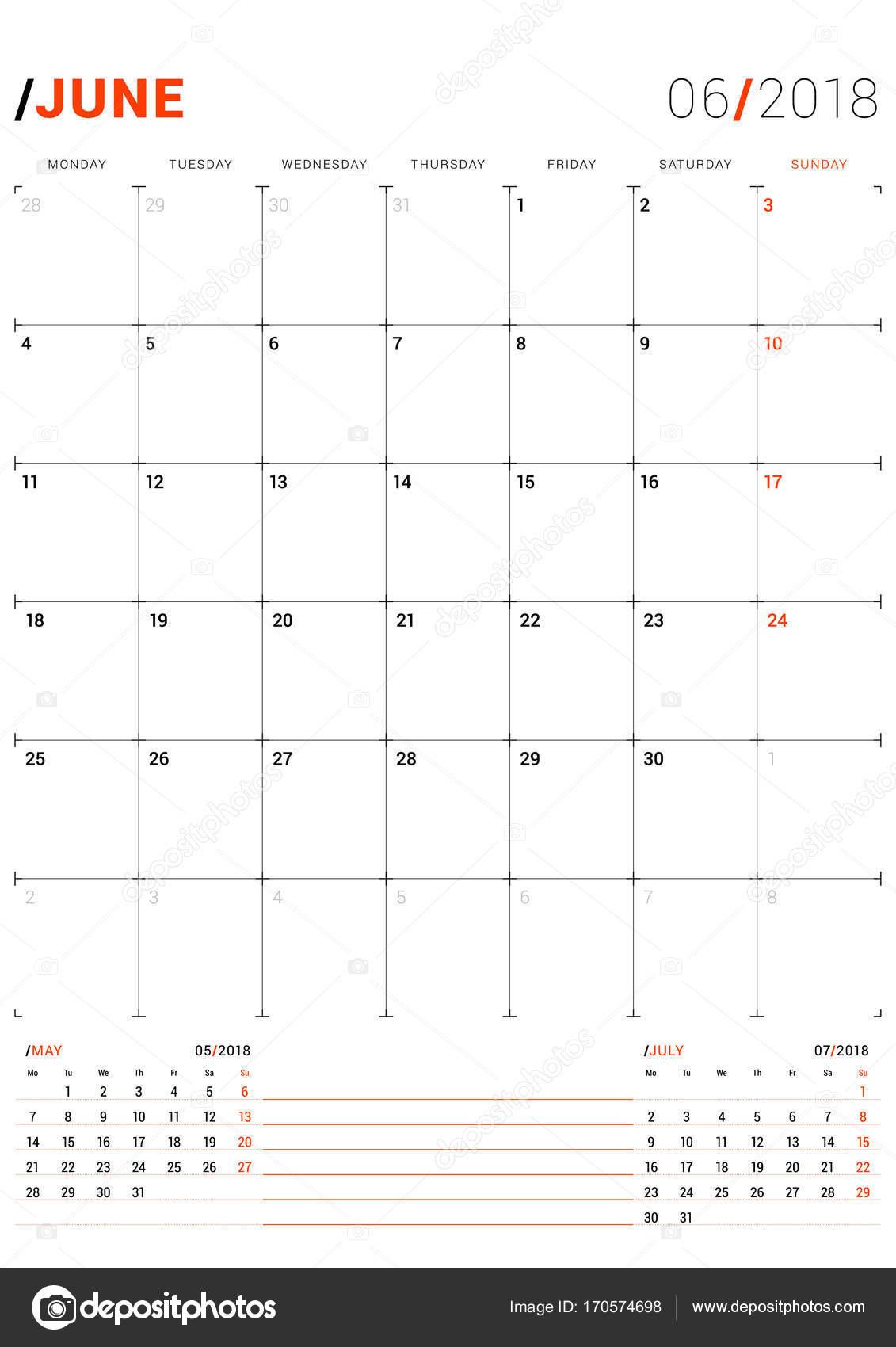 Juni 2018. Vektor-Druckvorlage. Monatlichen Kalender Planer für 2018 ...