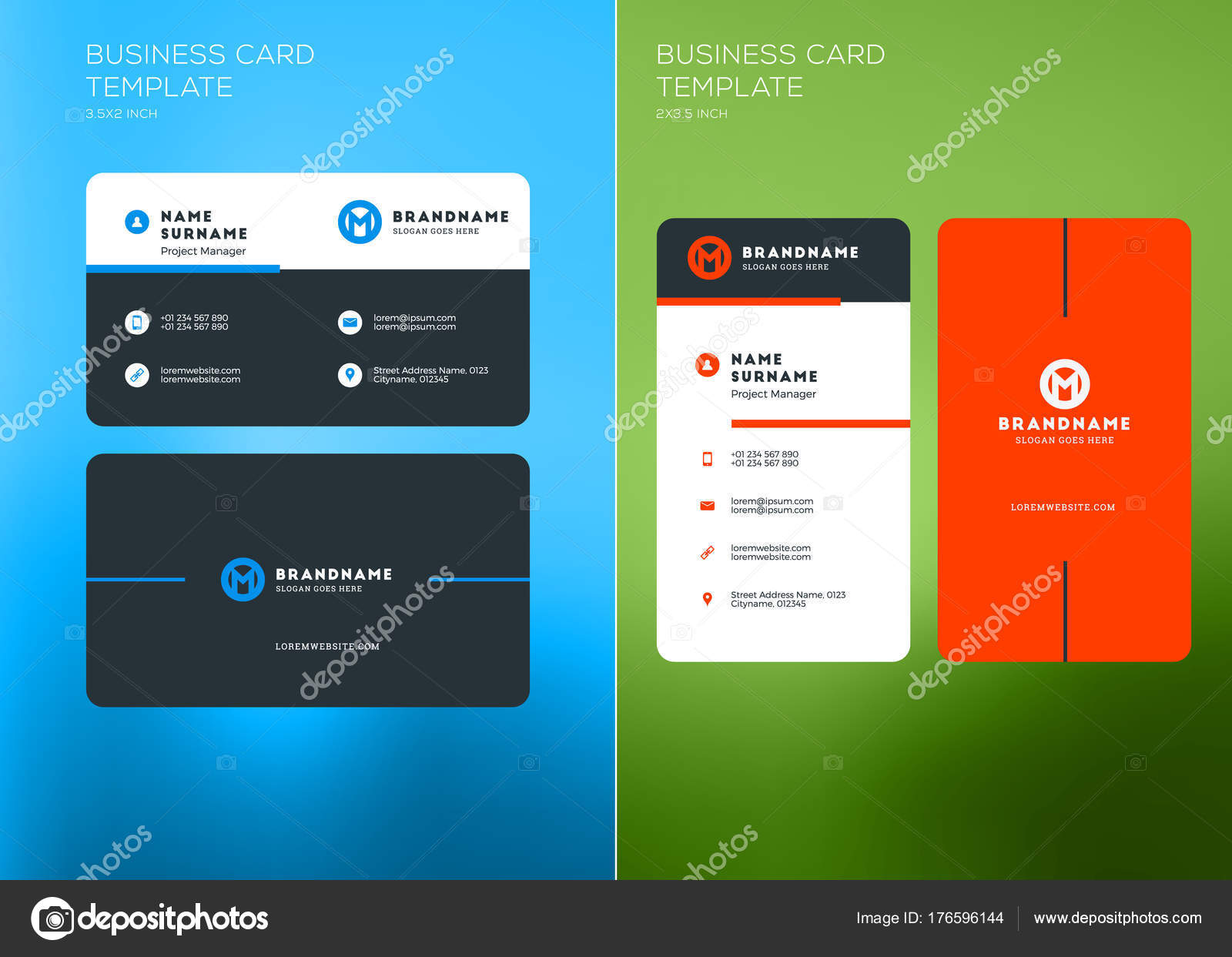 Corporate Business Card Print Template. Vertical and Horizontal ...