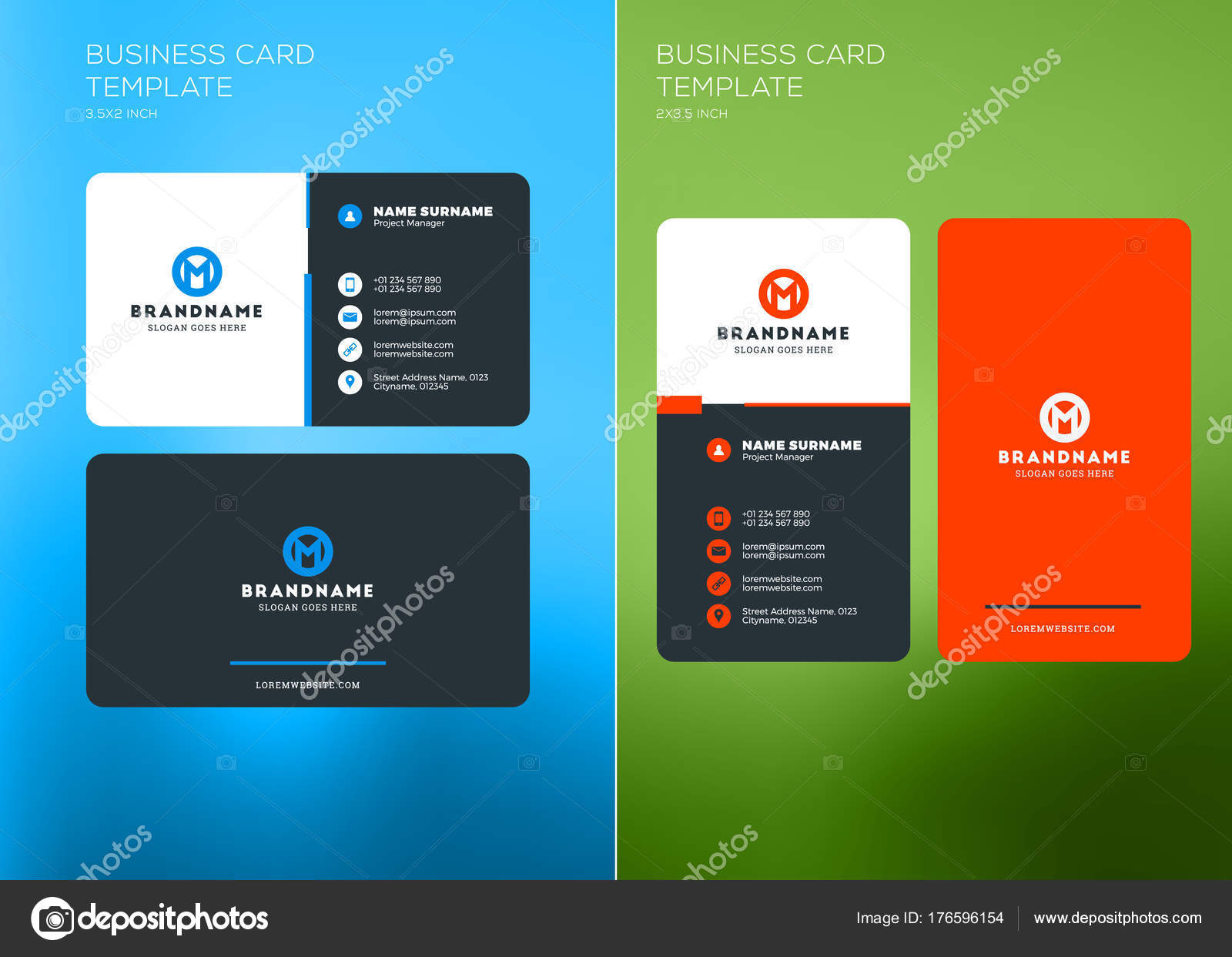 Corporate business card print template vertical and horizontal corporate business card print template vertical and horizontal business card templates vector illustration reheart Image collections