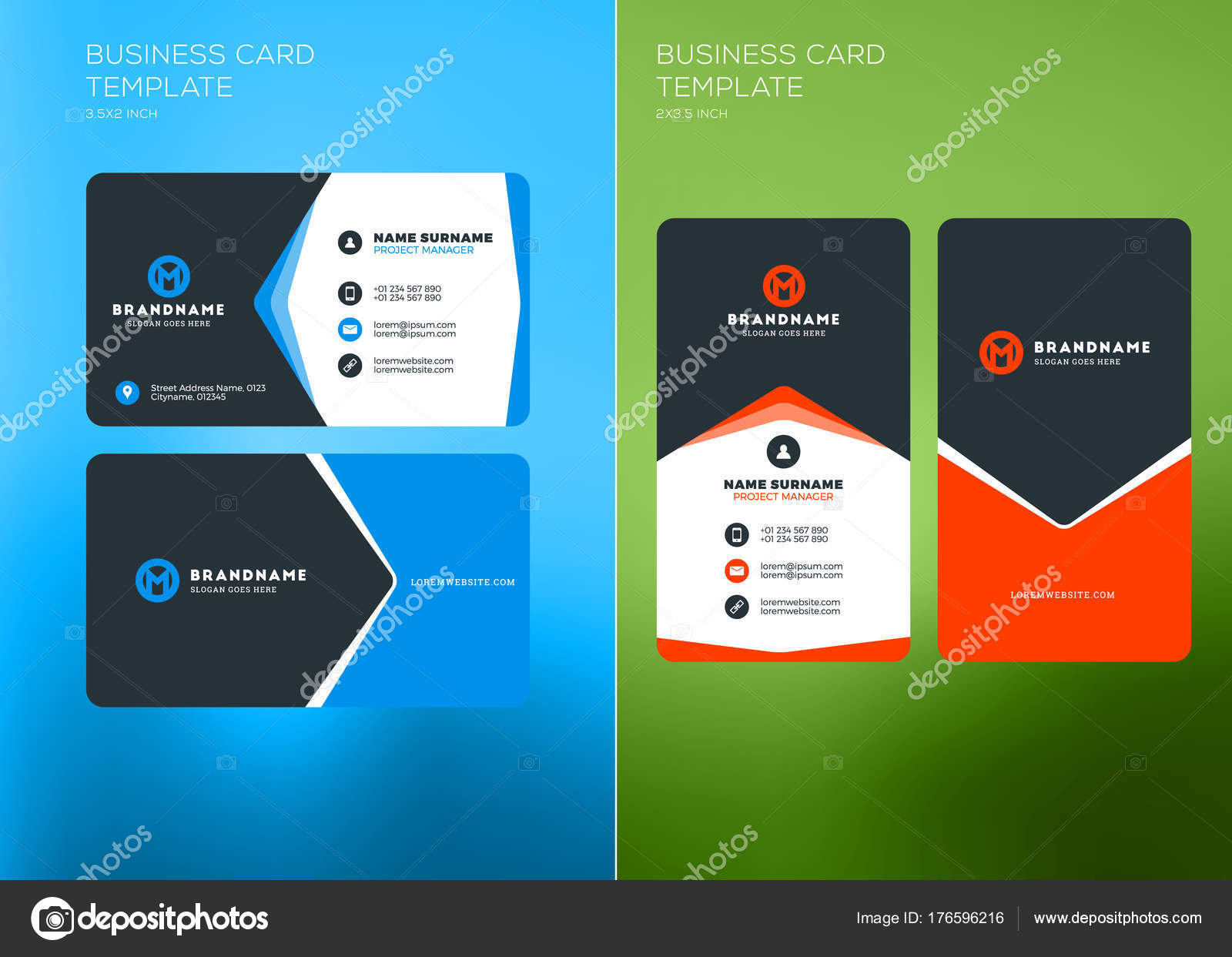 Corporate business card print template vertical and horizontal corporate business card print template vertical and horizontal business card templates vector illustration reheart Gallery