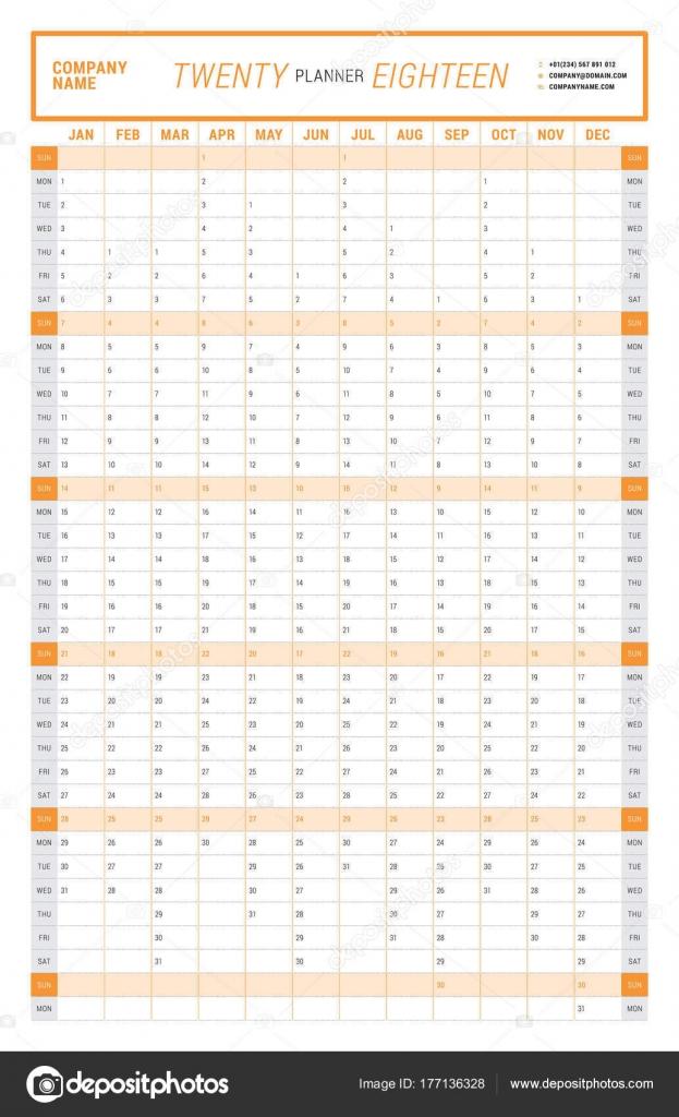 Jährliche Kalender Planer Wandschablone für 2018 Jahr. Vector ...