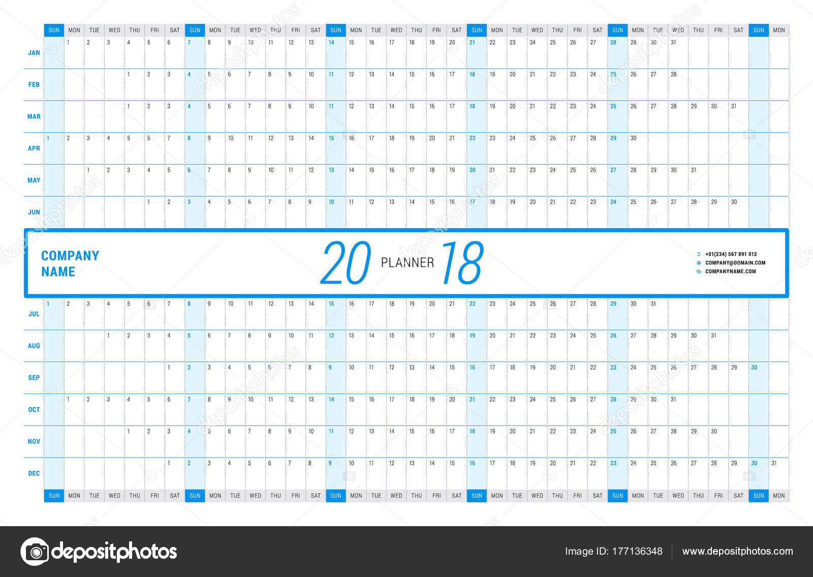 yearly wall calendar planner template for 2018 year vector design print template week starts