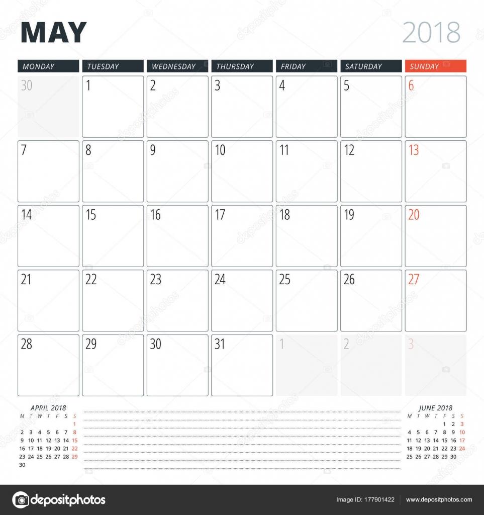 Kalender Planer für Mai 2018. Design-Vorlage. Woche beginnt am ...
