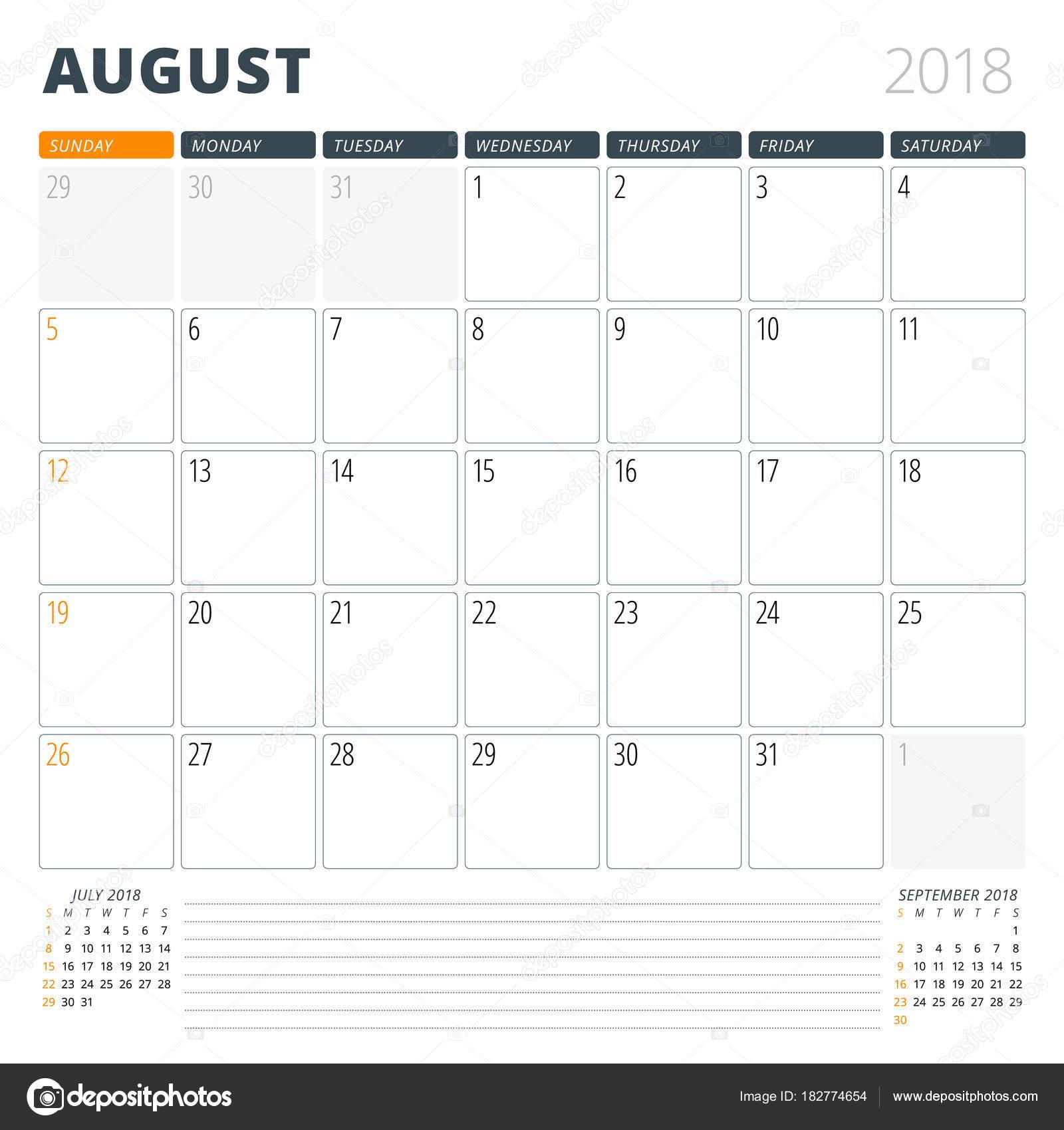 Kalender Planer für August 2018. Design-Vorlage. Woche beginnt am ...