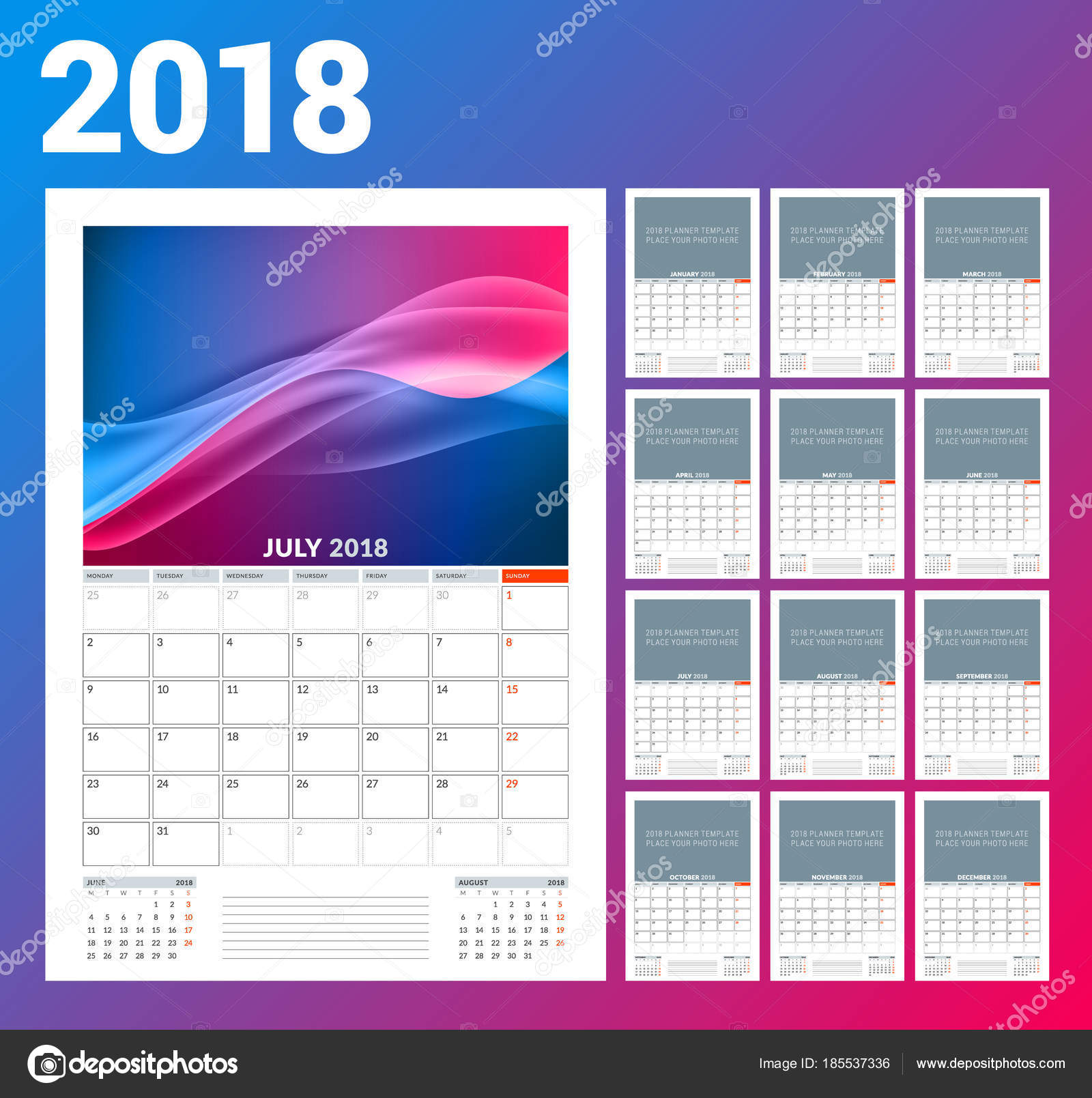 Wall Calendar Template For 2018 Year Vector Illustration Set Of 12