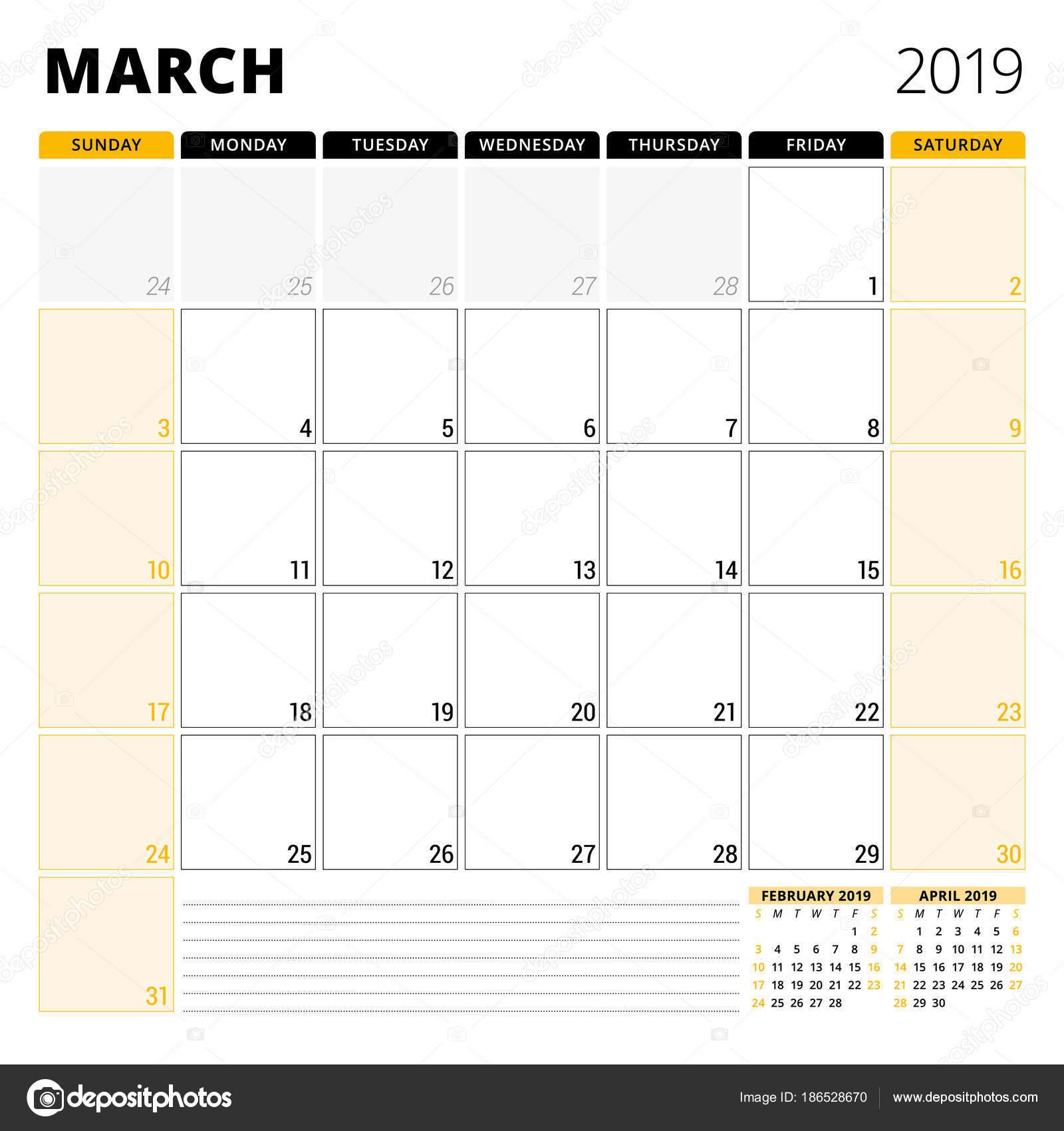 Kalender Planer für März 2019. Briefpapier-Design-Vorlage. Woche ...