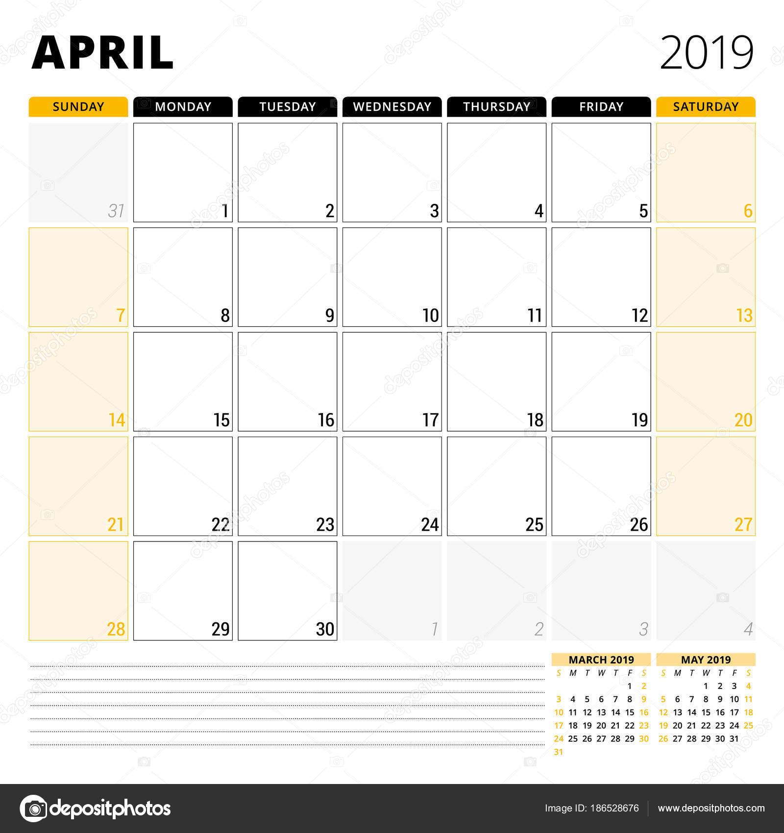 2019 áprilisi naptár Naptár tervező április 2019. Levélpapír tervezősablon. Hét  2019 áprilisi naptár