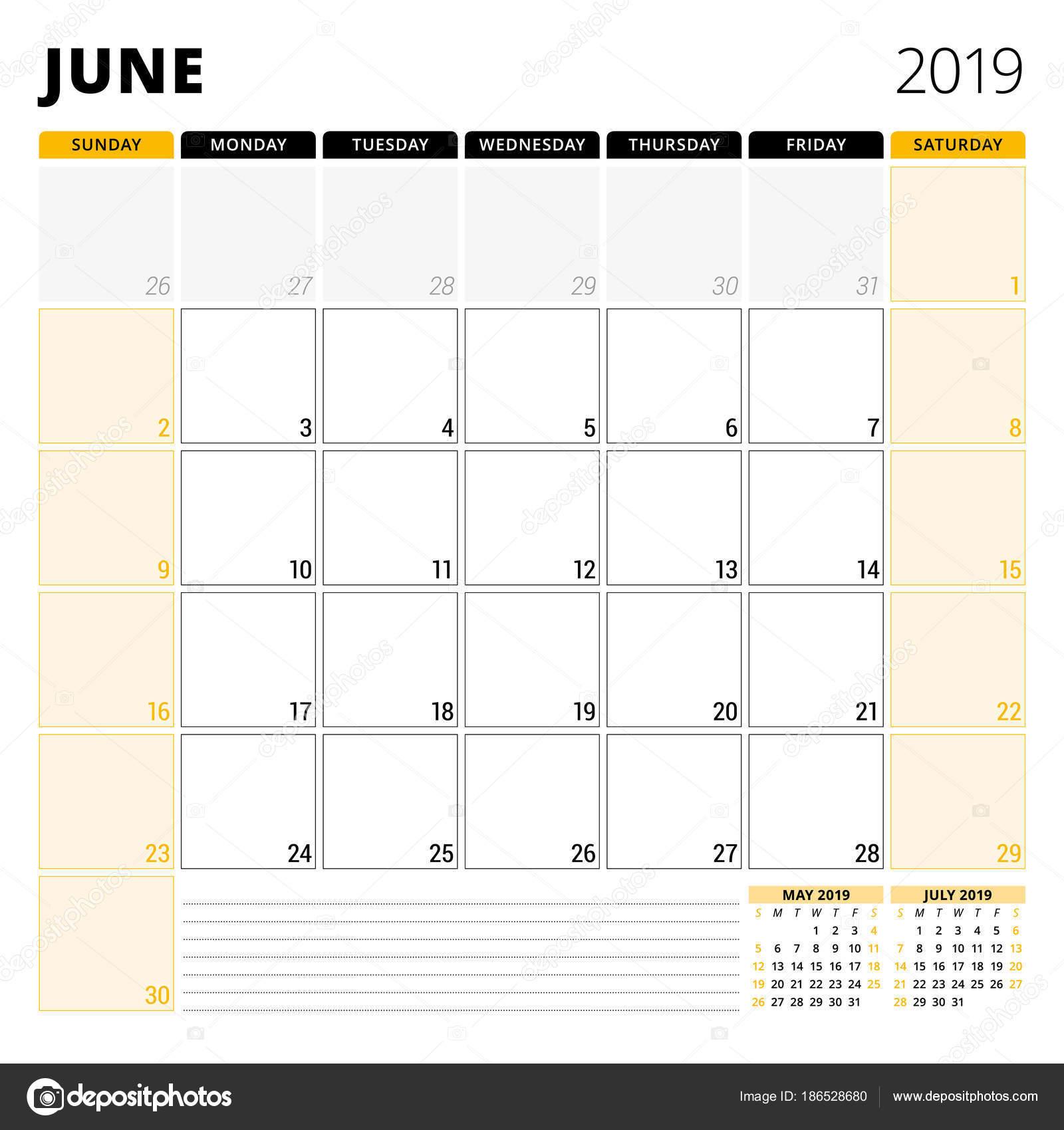 Kalender Planer für Juni 2019. Briefpapier-Design-Vorlage. Woche ...