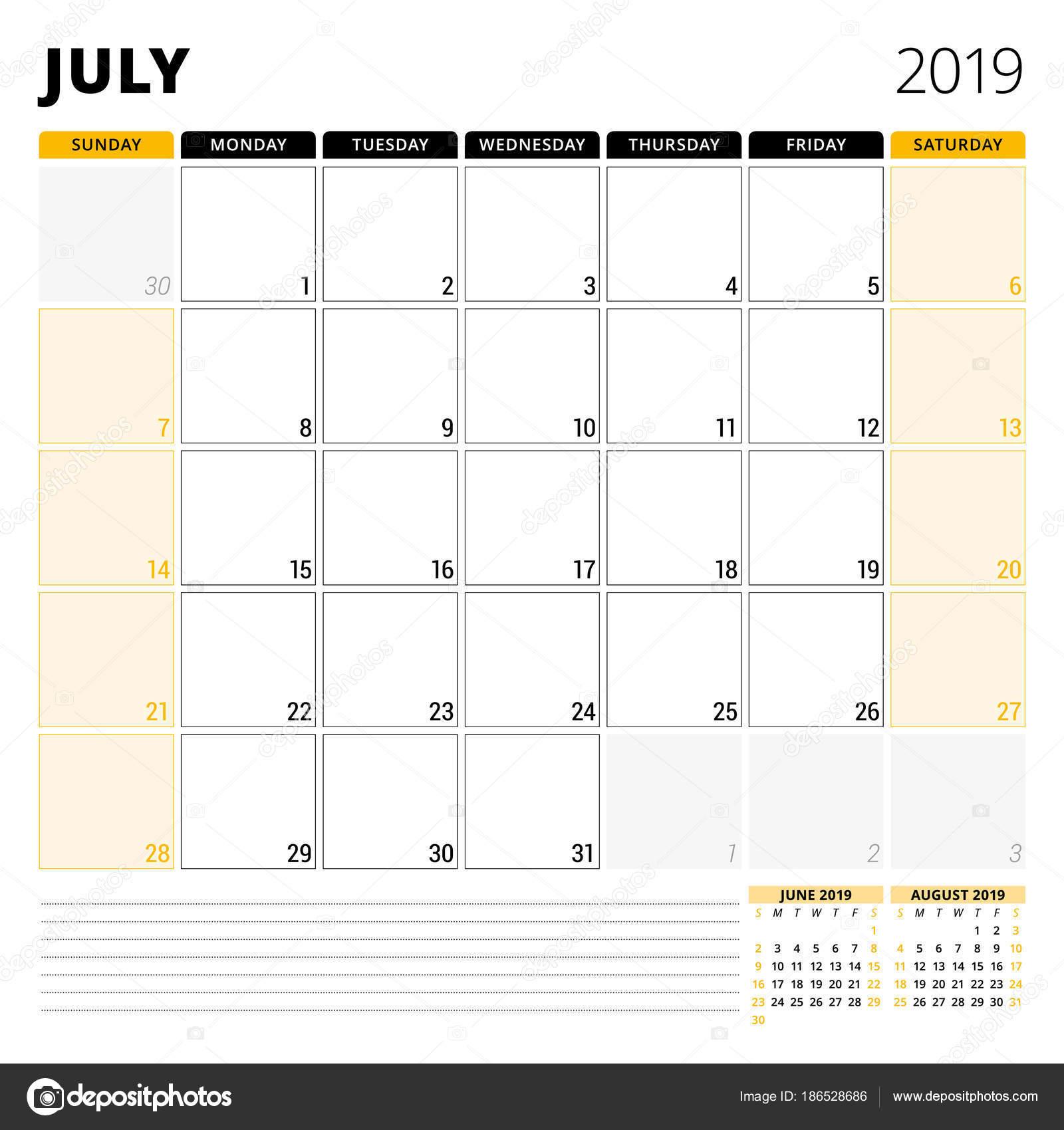 Pagina Di Calendario Luglio 2019.Calendario Planner Per Luglio 2019 Modello Di Disegno Della