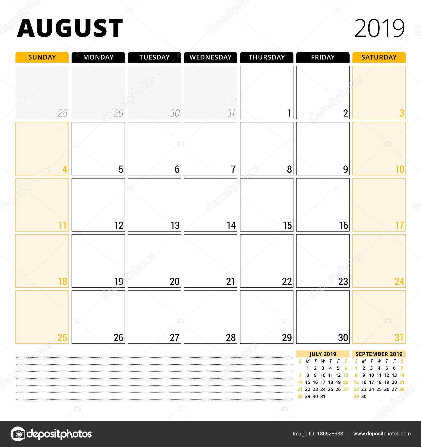 Calendrier Mois Aout 2019.Calendrier Agenda Pour Aout 2019 Modele De Conception D