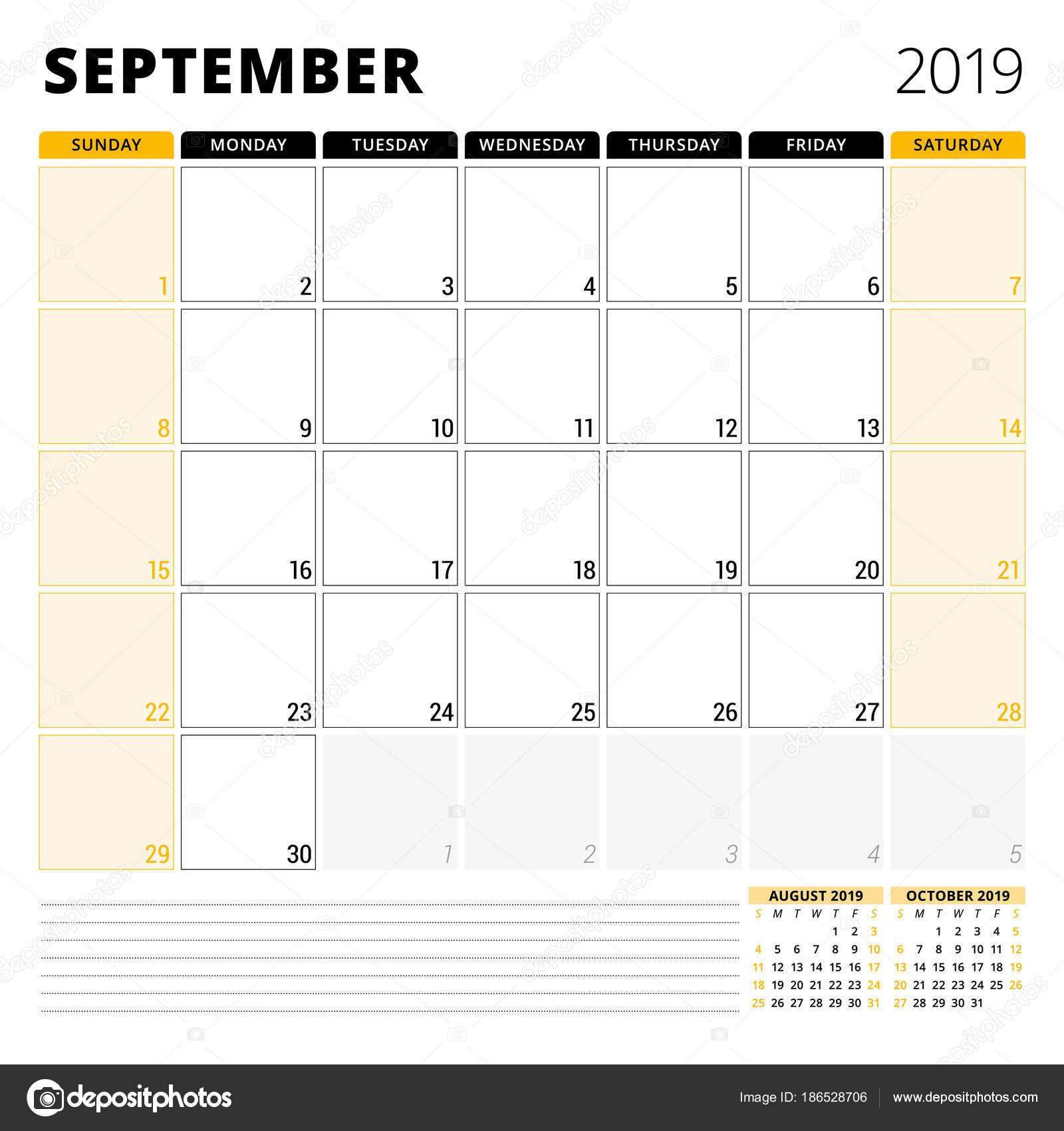 Pagina Di Calendario Settembre 2019.Calendario Planner Per Settembre 2019 Modello Di Disegno