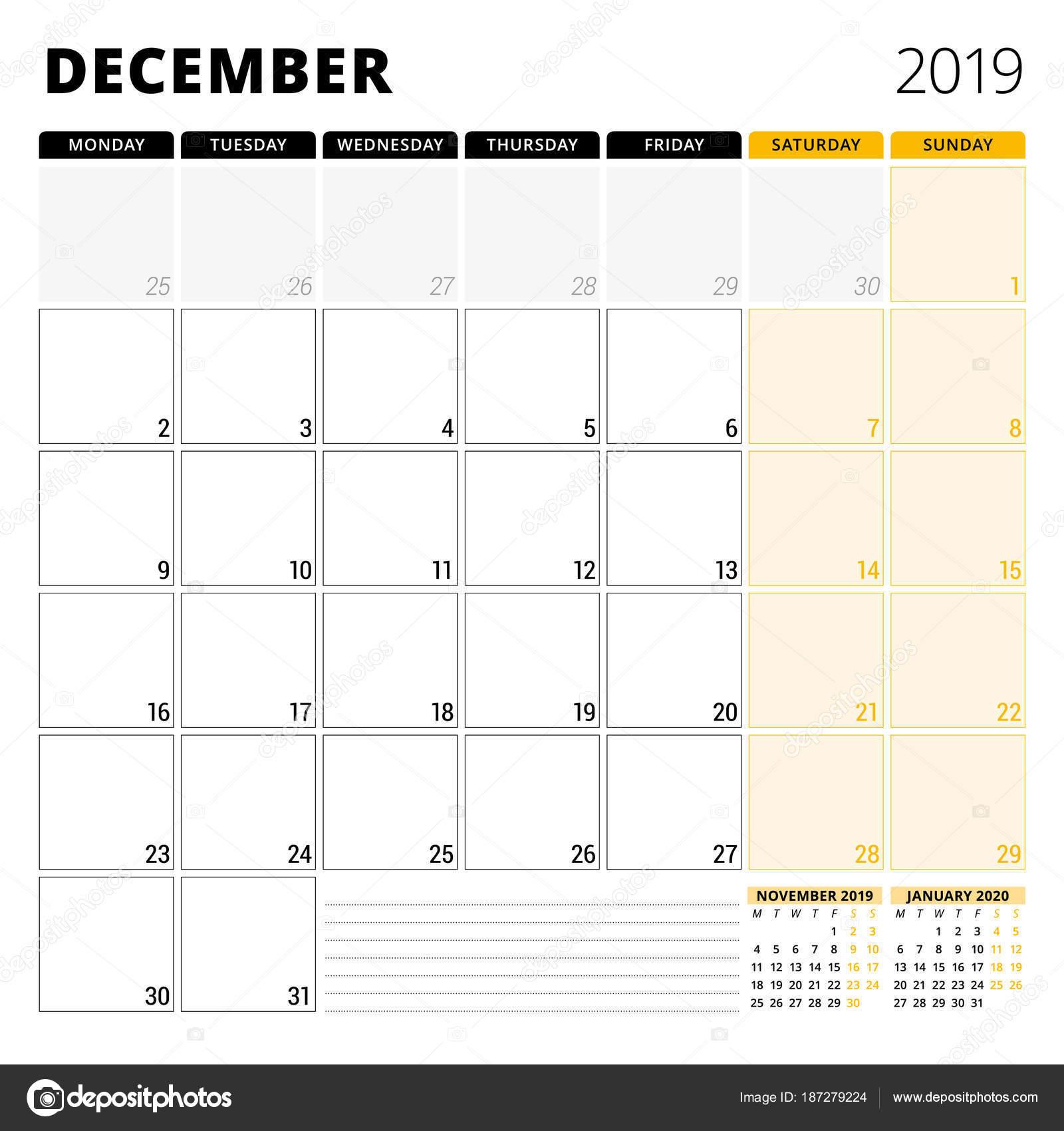 2019年 12 月のカレンダー プランナー文房具のデザイン