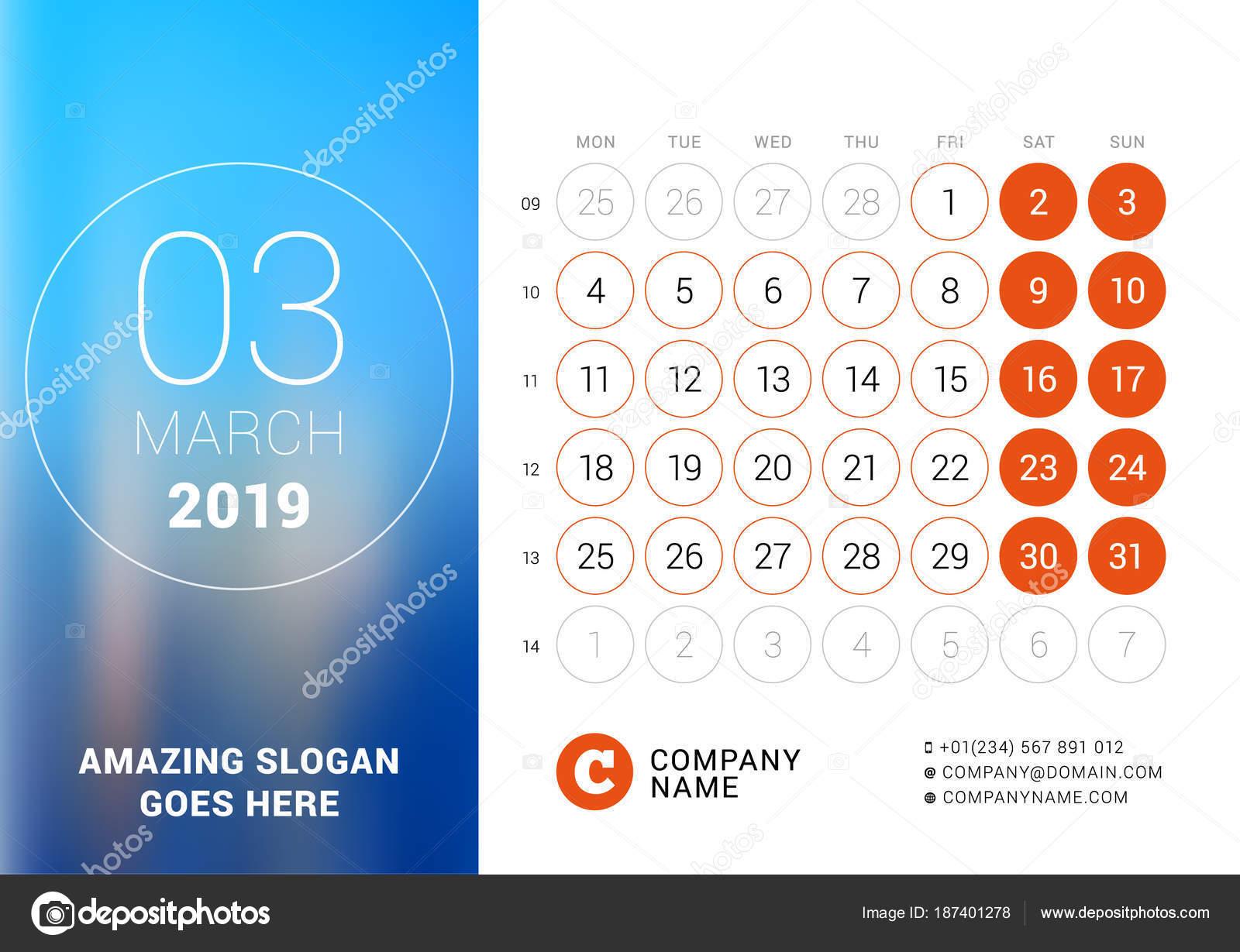 Mars 2019 Calendrier De Bureau Pour Lannée 2019 Vector