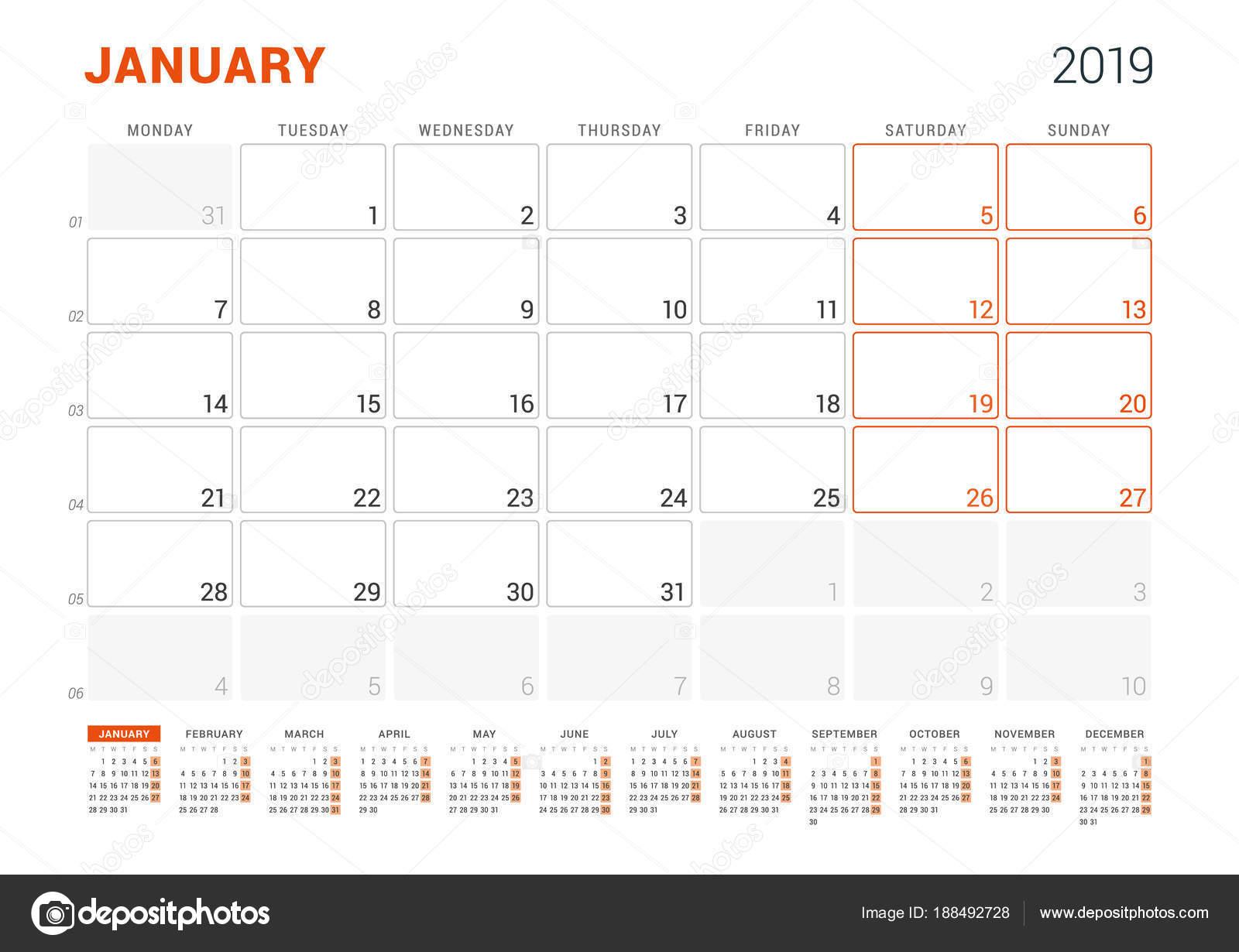 2019 január naptár nyomtatható Január 2019. Naptár tervező 2019 évre. Vector design nyomtatási  2019 január naptár nyomtatható