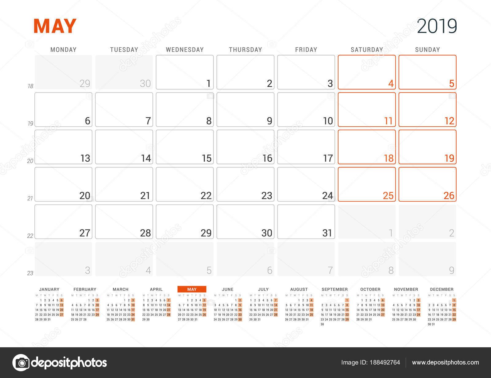 Calendario Settimane Anno 2019.Maggio 2019 Calendario Planner Per L Anno 2019 Modello Di