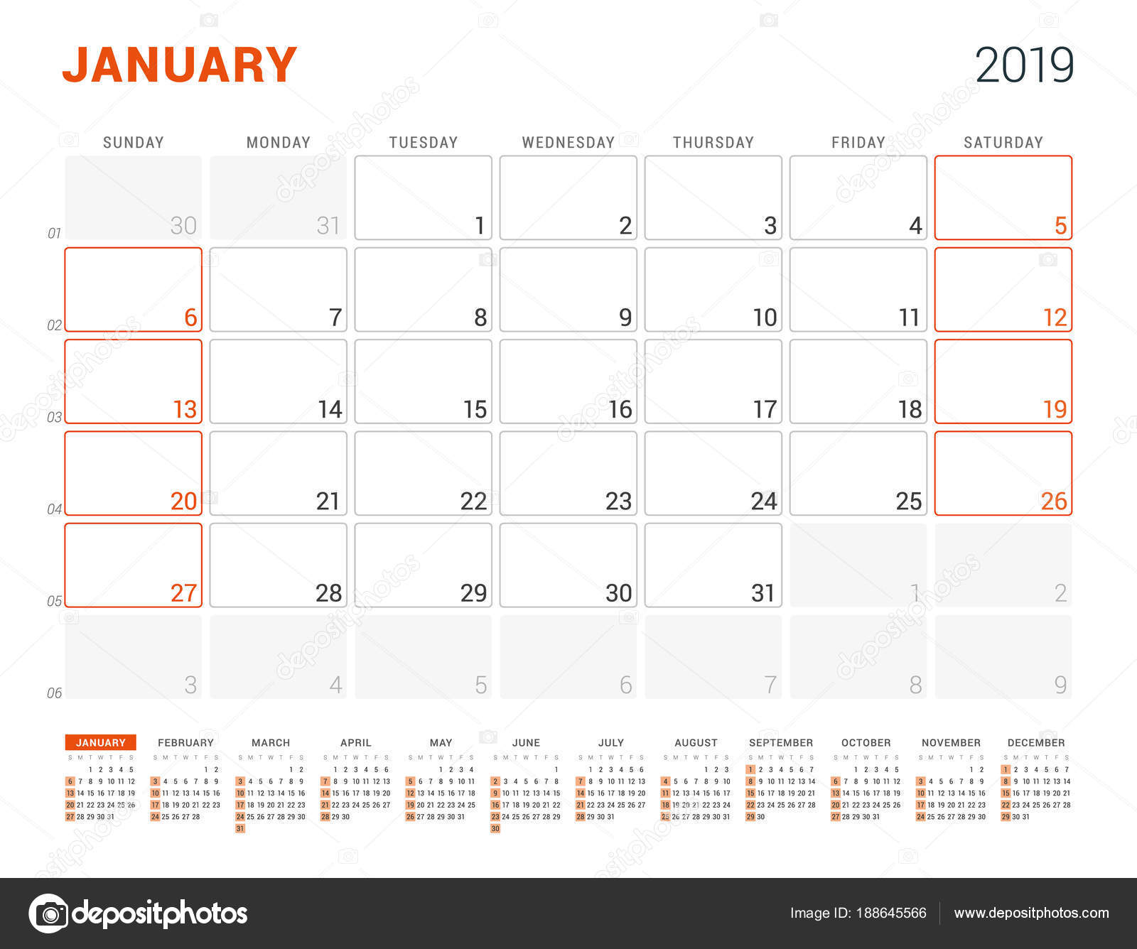 2019 nyomtatható naptár Január 2019. Naptár tervező 2019 évre. Vector design nyomtatási  2019 nyomtatható naptár