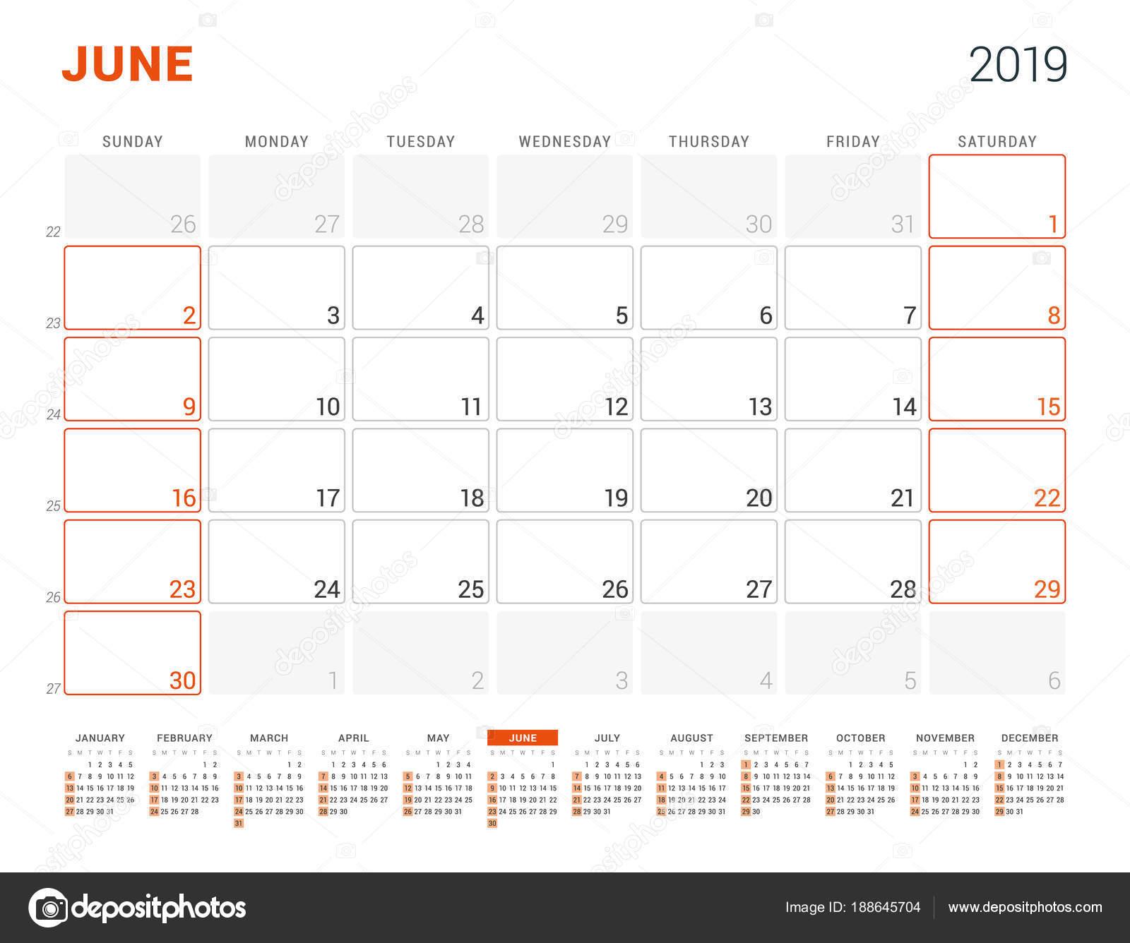 naptár 2019 június Június 2019. Naptár tervező 2019 évre. Vector design nyomtatási  naptár 2019 június