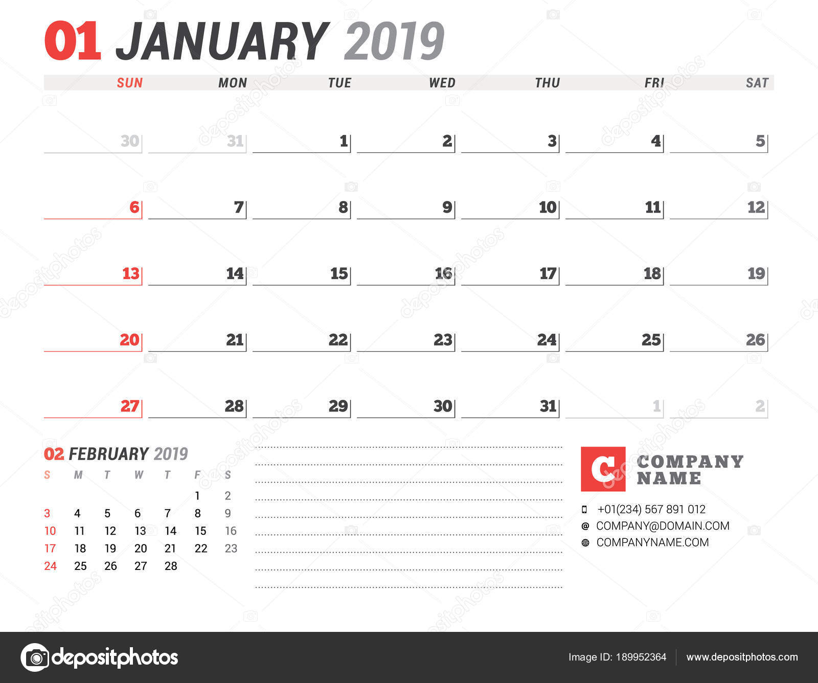 2019 naptár január Calendar template for January 2019. Business planner. Stationery  2019 naptár január