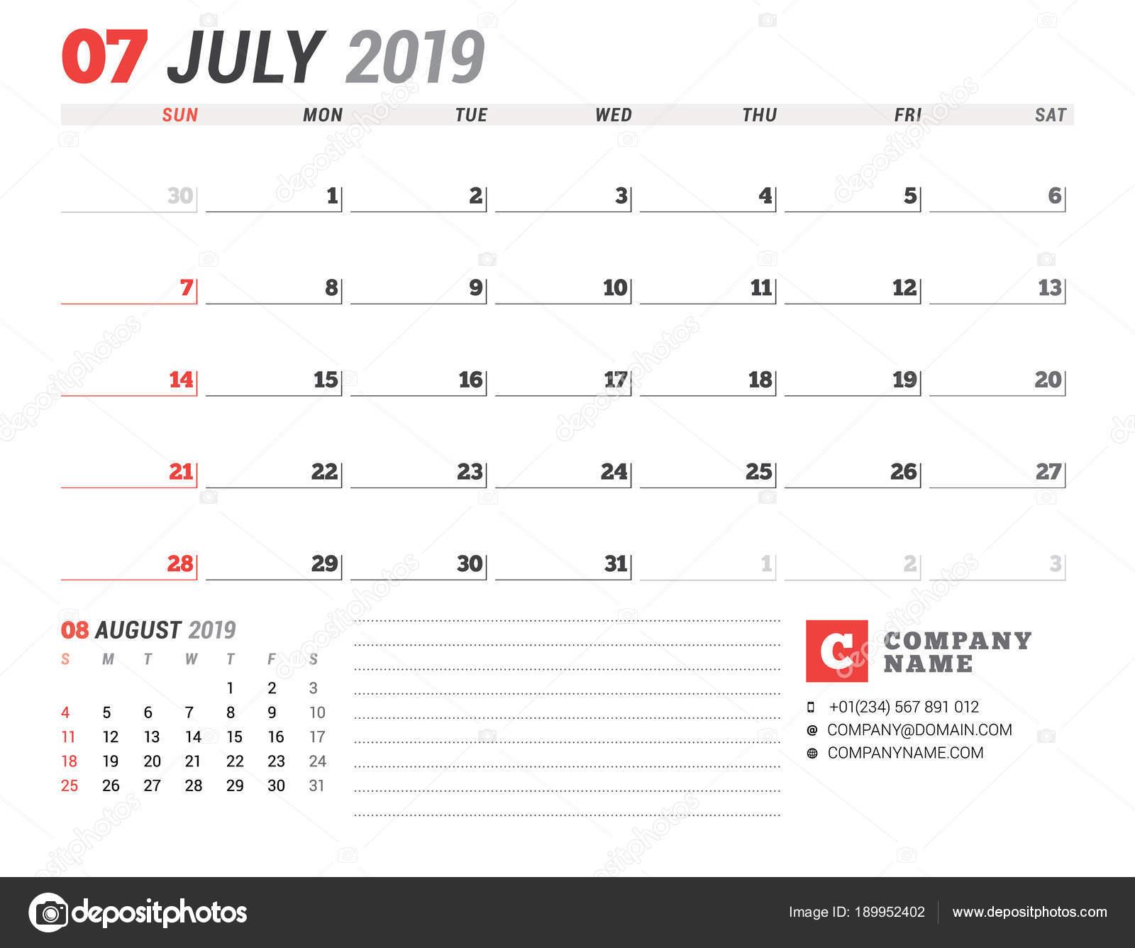 Pagina Di Calendario Luglio 2019.Modello Di Calendario Per Luglio 2019 Pianificazione