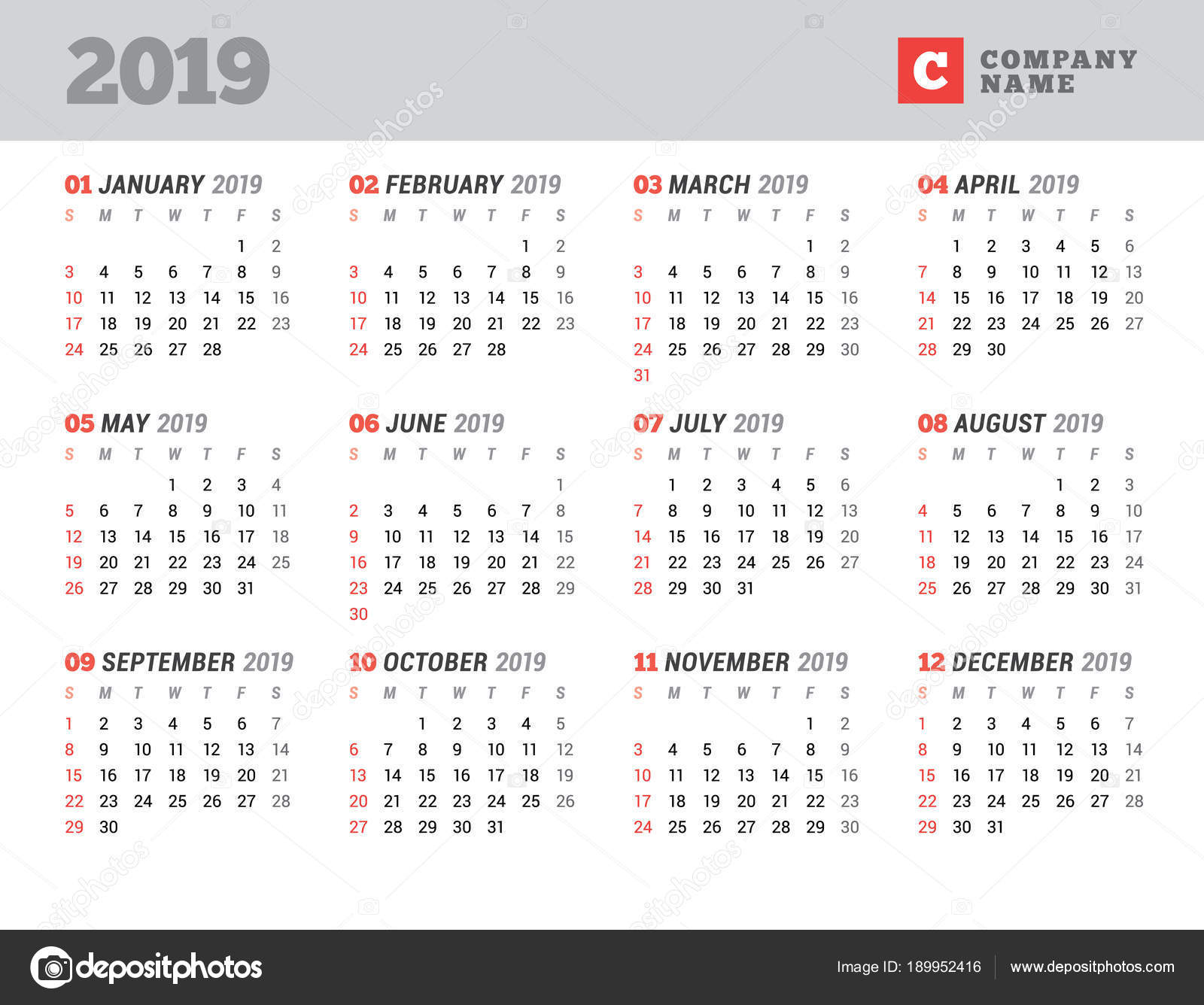calendar template for 2019 year stationery design week starts on sunday 12 months on the page vector illustration vector by mikhailmorosin