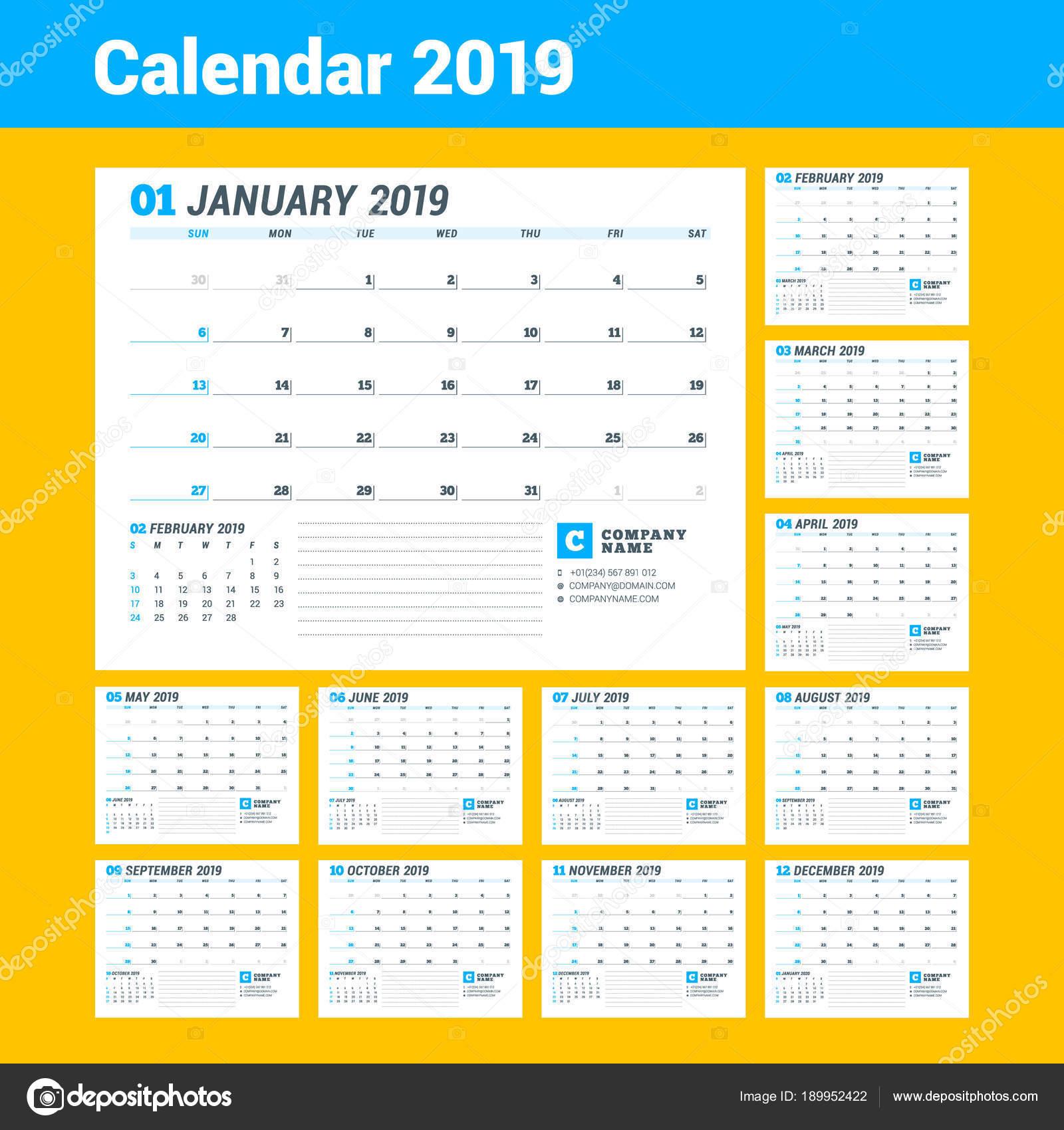 Plantilla de calendario para el año 2019. Planificador de negocios ...