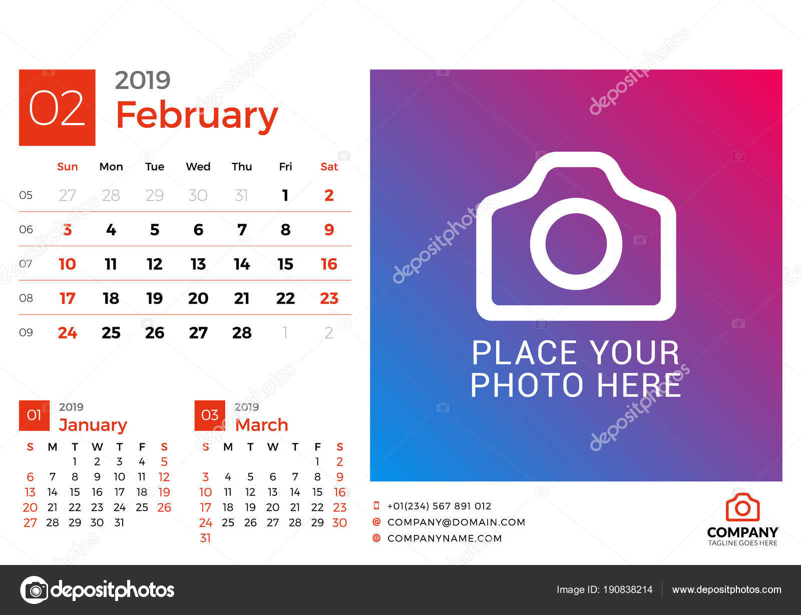 Calendar For February 2019 Vector Design Print Template With Place