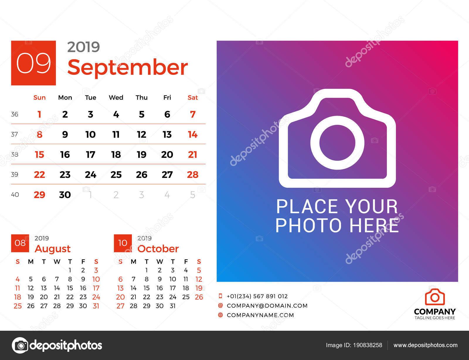 Pagina Di Calendario Settembre 2019.Calendario Per Settembre 2019 Modello Stampa Di Disegno