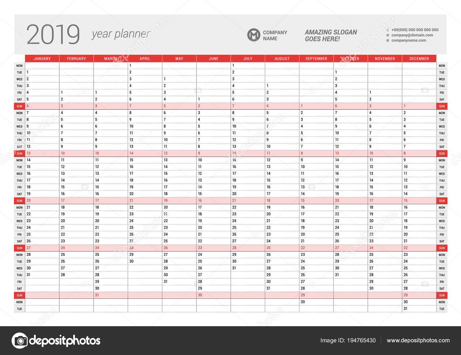 Calendario Settimane Anno 2019.Annuale Parete Calendario Planner Modello Per L Anno 2019