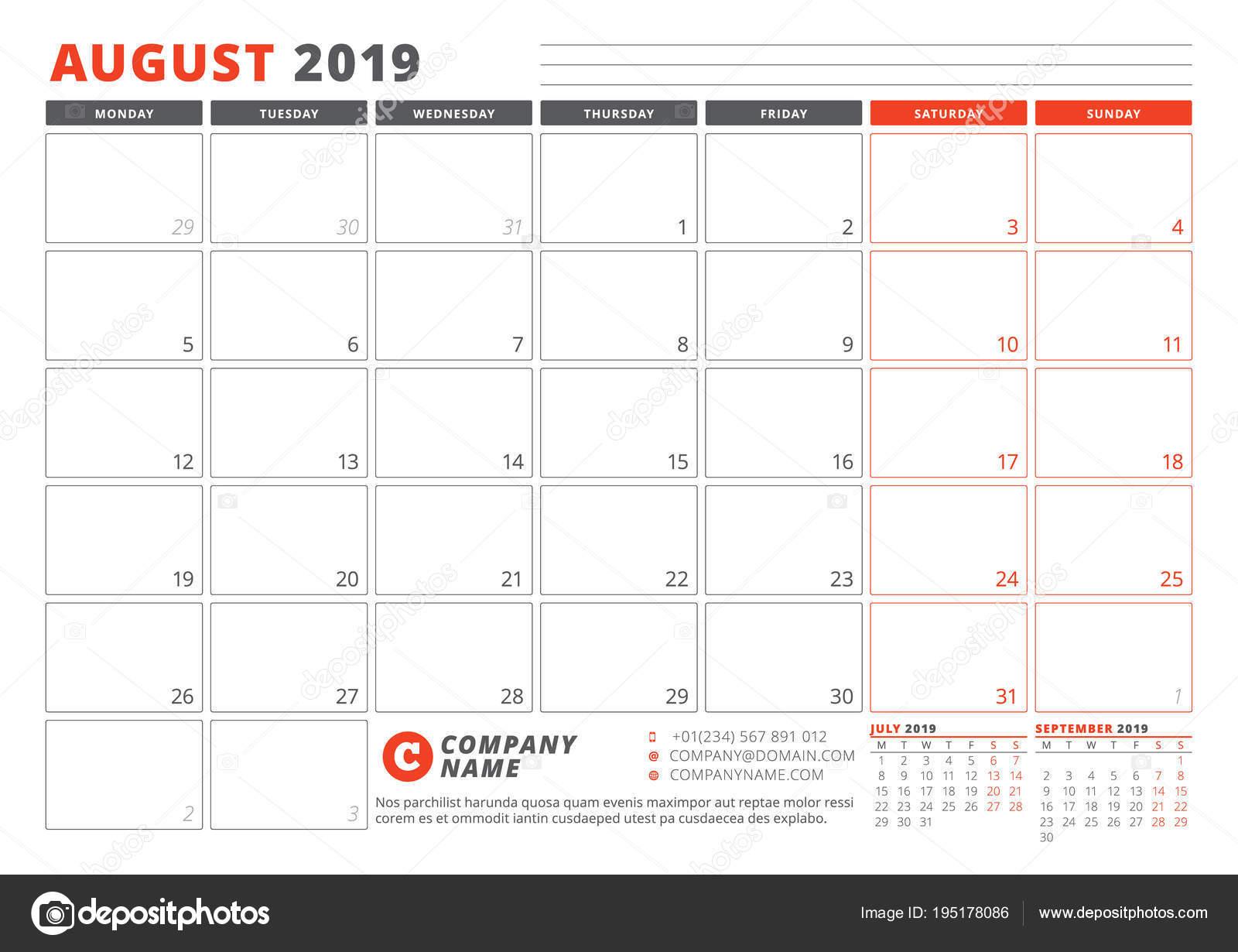 Pagina Calendario Agosto 2019.Modello Di Calendario Per Agosto 2019 Modello Di Business