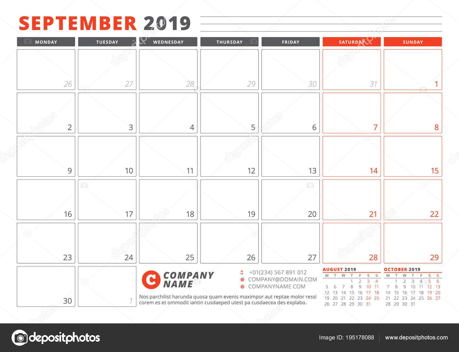 Pagina Di Calendario Settembre 2019.Modello Di Calendario Per Settembre 2019 Modello Di