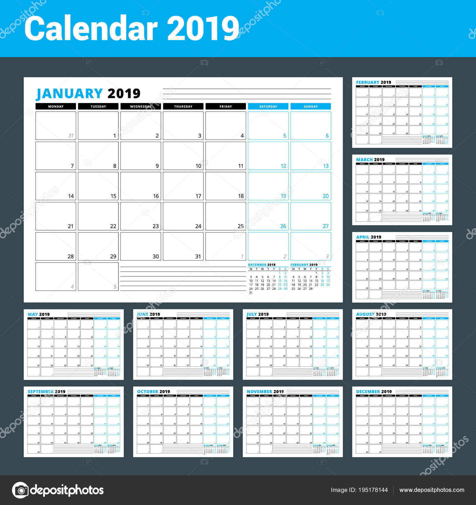 Calendar template for 2019 year business planner template calendar template for 2019 year business planner template stationery design week starts on friedricerecipe Choice Image