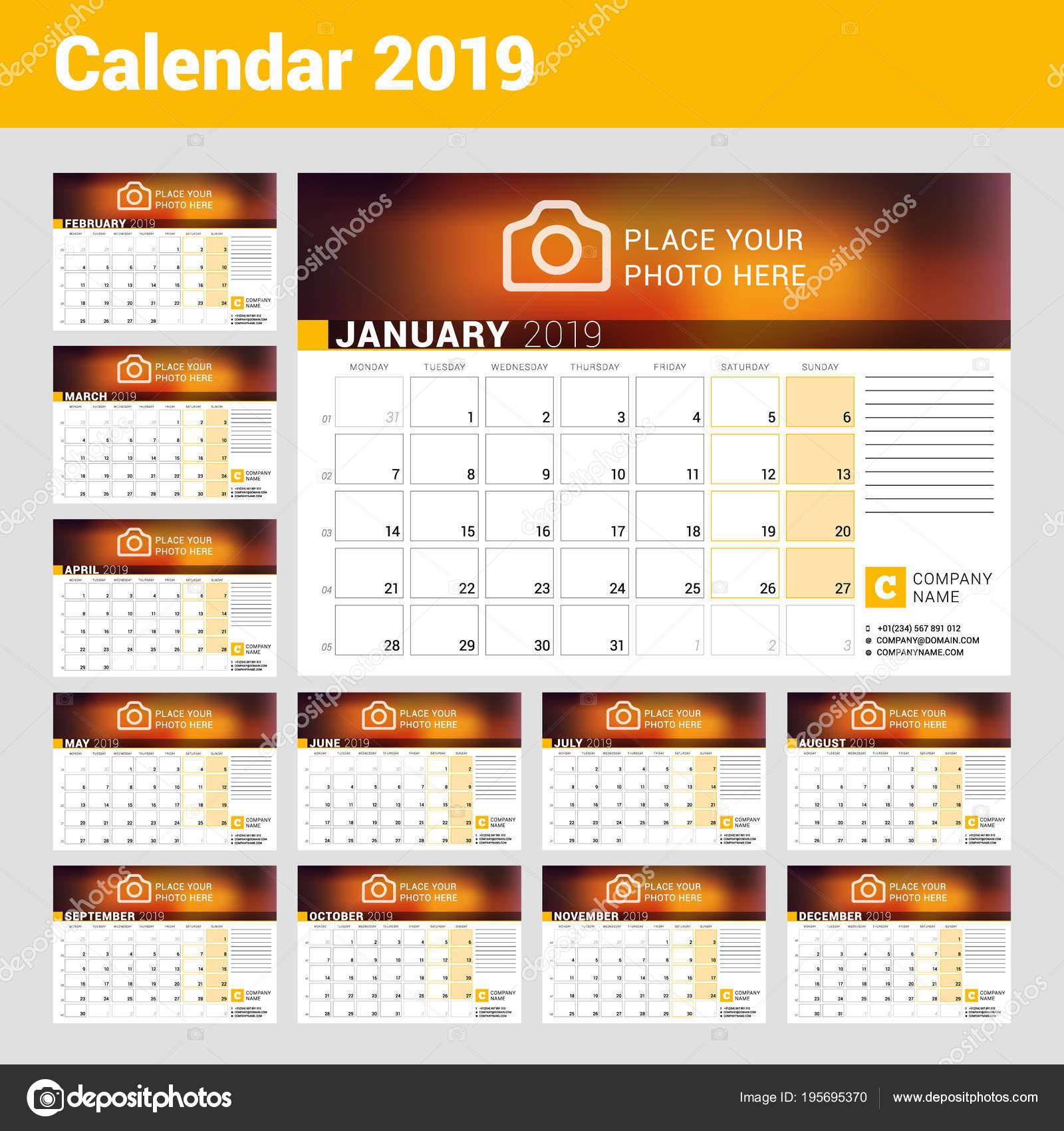 Calendario Con Numero Settimane.Calendario Per L Anno 2019 Modello Stampa Di Disegno