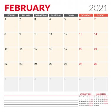 Calendar template for February 2021. Business monthly planner. Stationery design. Week starts on Monday. Vector illustration