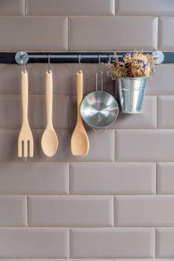 Kitchen decoration with wooden fork