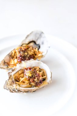 fresh oyster with sauce