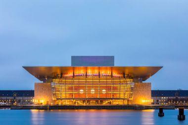 Copenhagen Opera House of Denmark at night twilight stock vector