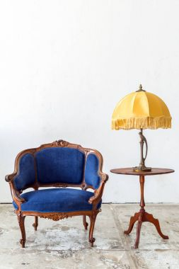 Blue sofa couch with lamp