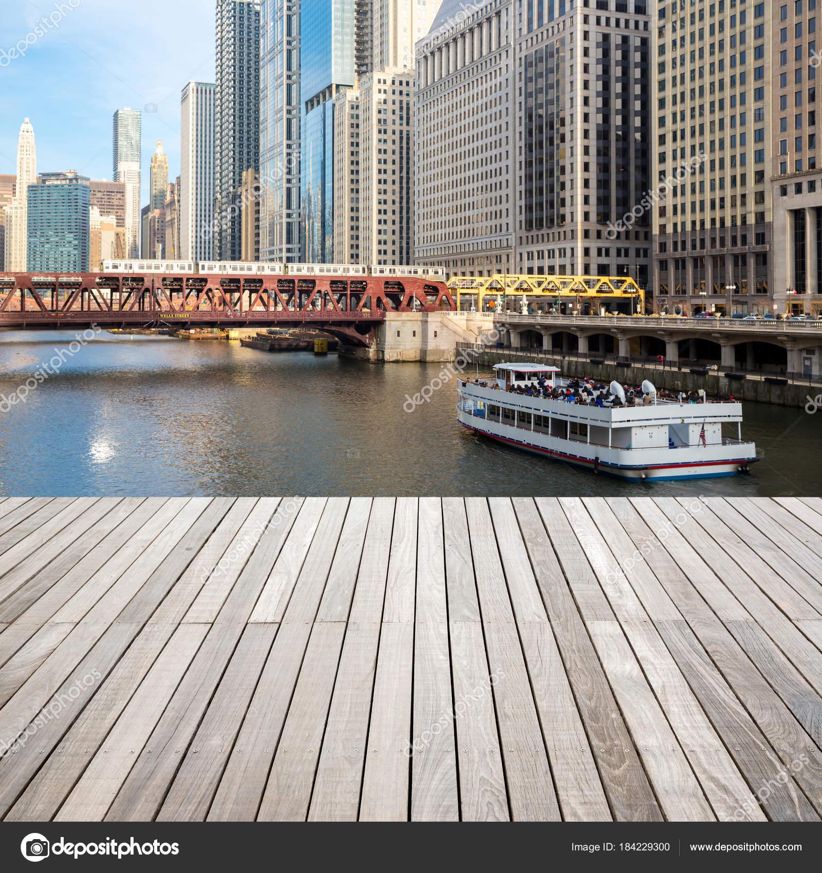 Centro Ciudad Chicago Río Con Terraza Madera Foto De Stock