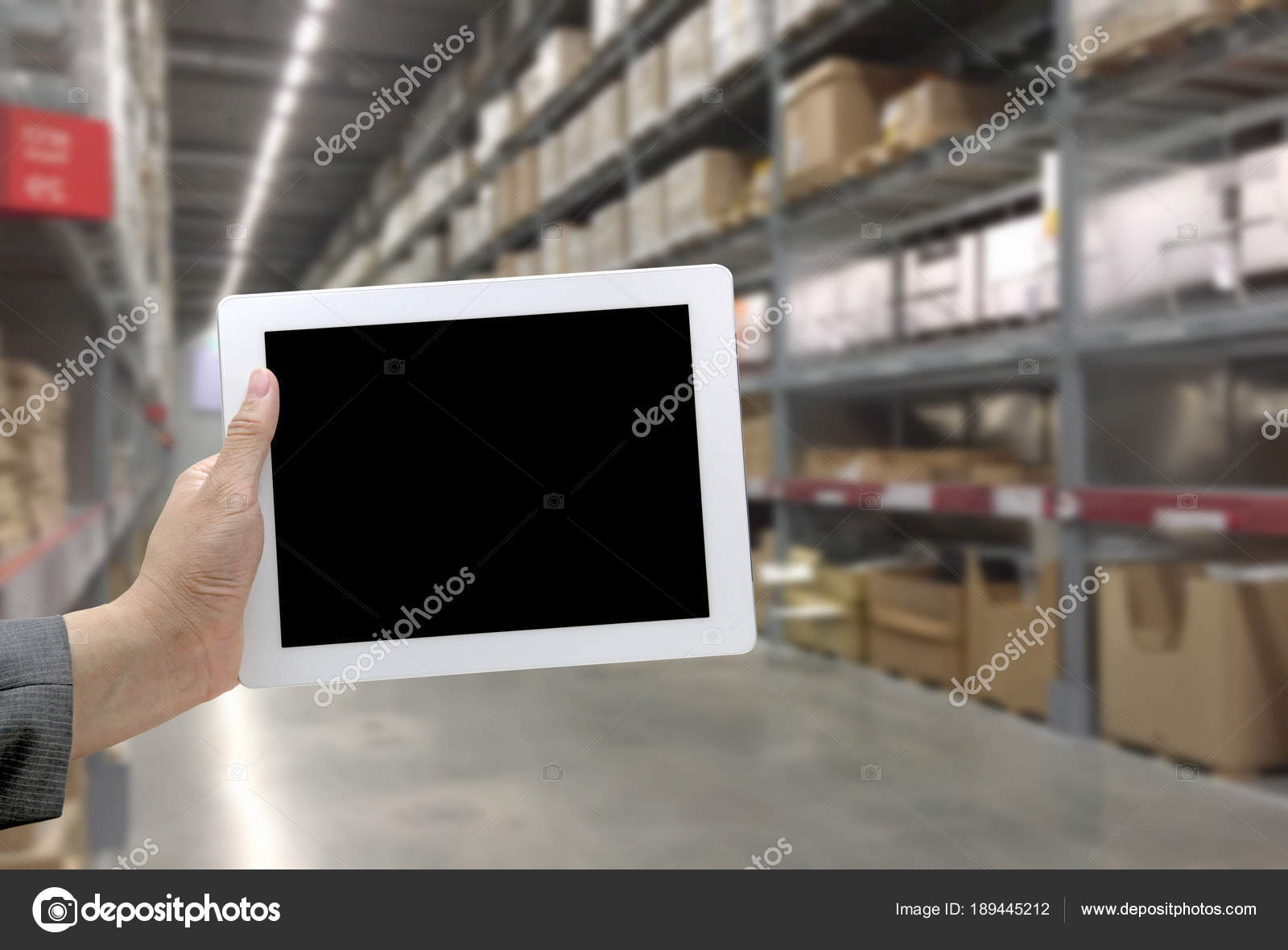 Abstract Blurred Background Warehouse Cargo Digital Monitor — Stock