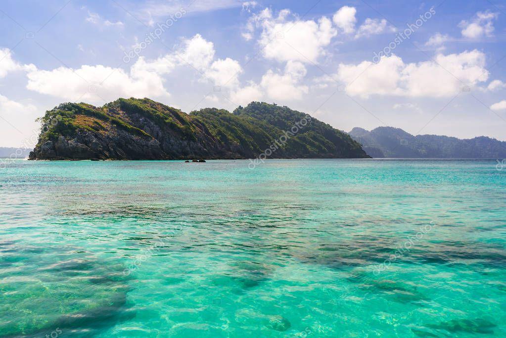 Tropical white beach at Andaman sea in Indian ocean, Thailand.
