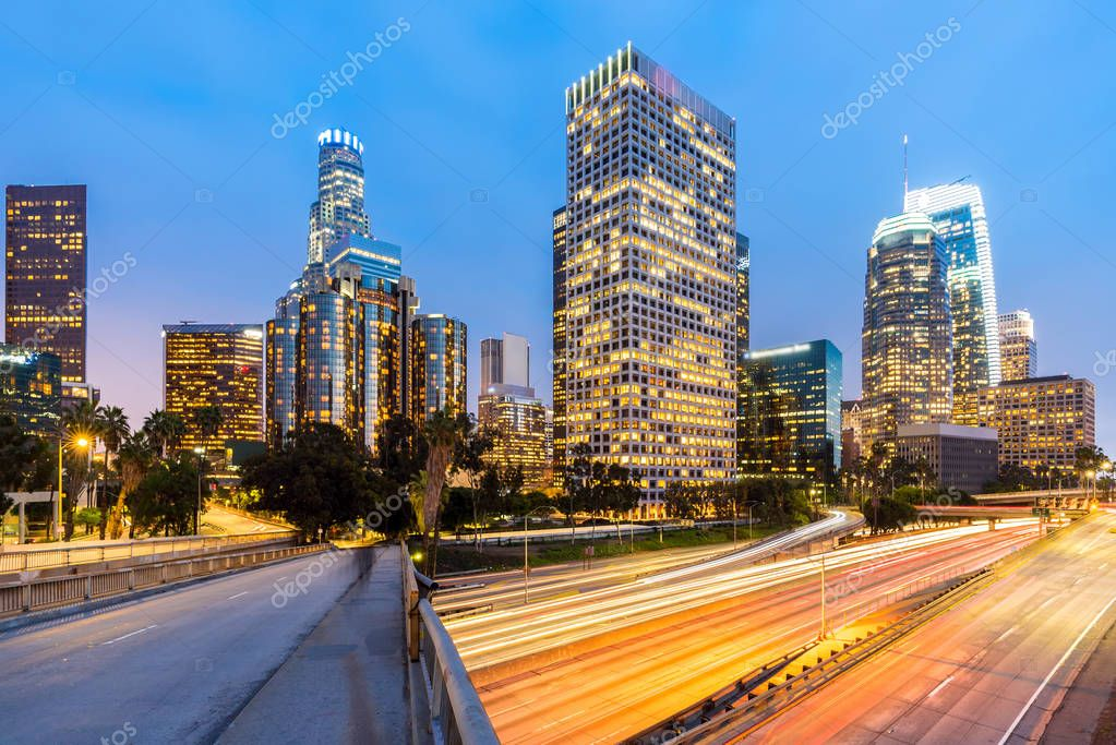 aerial view of Los Angeles Downtown in sunset, California, USA