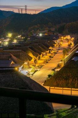 Ouchujuku ancient Village in Japan at night
