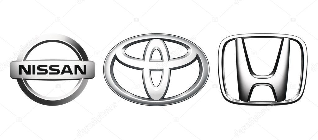 Collectie Van Populaire Japan Auto Logo S Redactionele Stockfoto