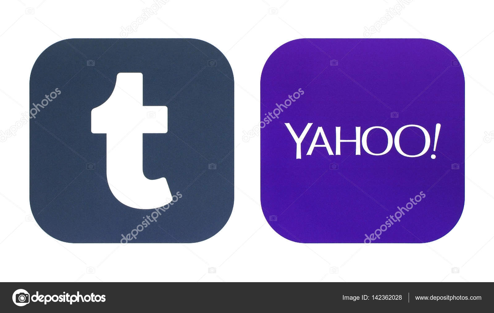 Collection Of A New Tumblr And Yahoo Logos Stock Photo