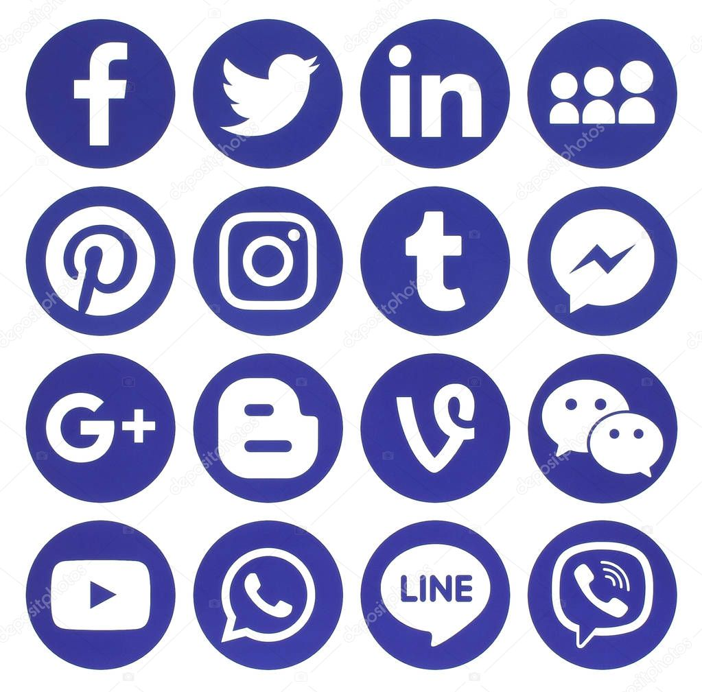Collection of popular blue round social media icons