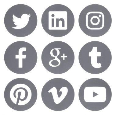 Collection of round popular social media gray logos