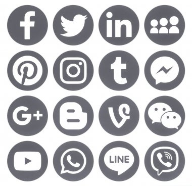 Collection of popular grey round social media icons