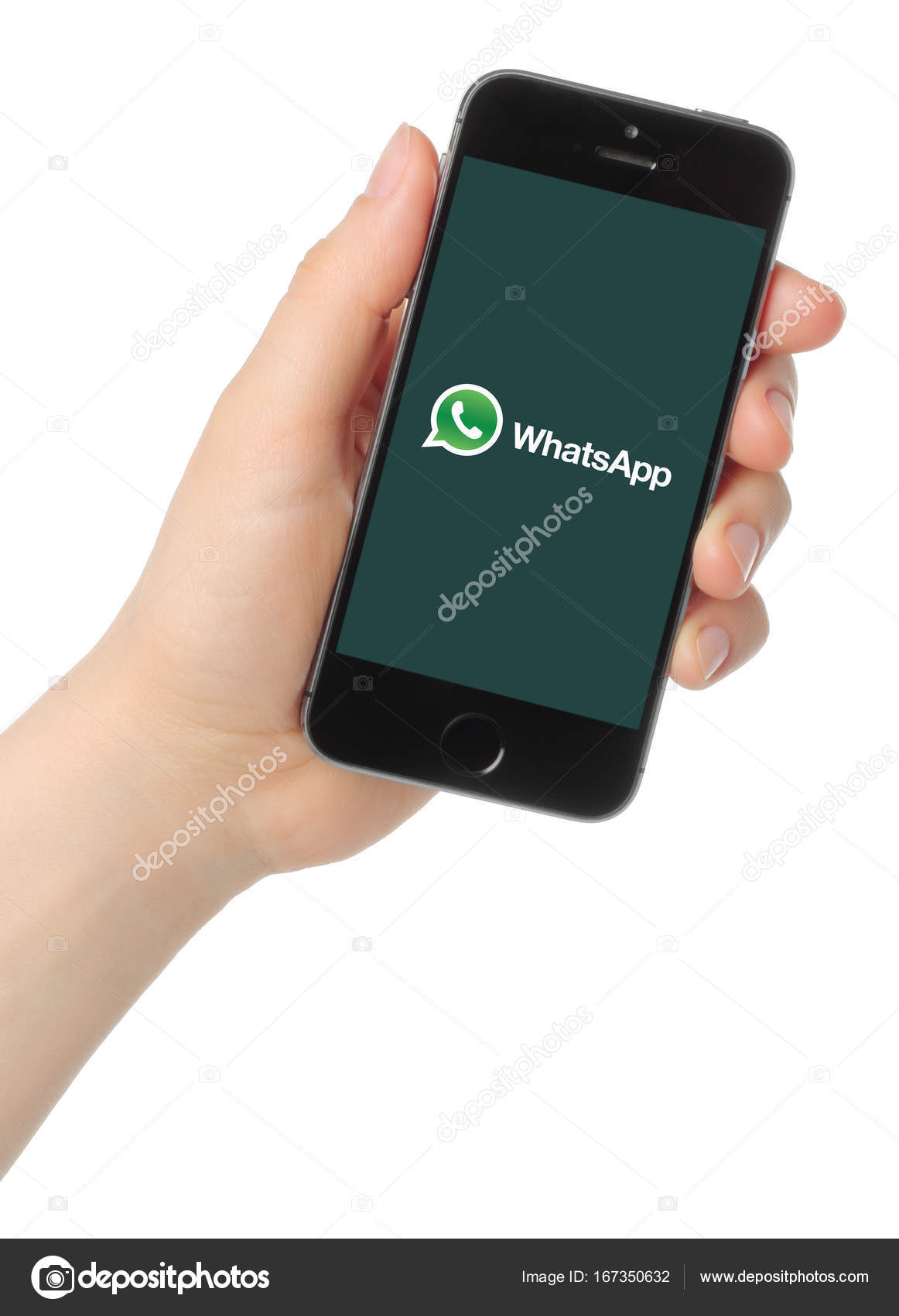 Hand holds iPhone 20s Space Gray with WhatsApp logo – Stock ...