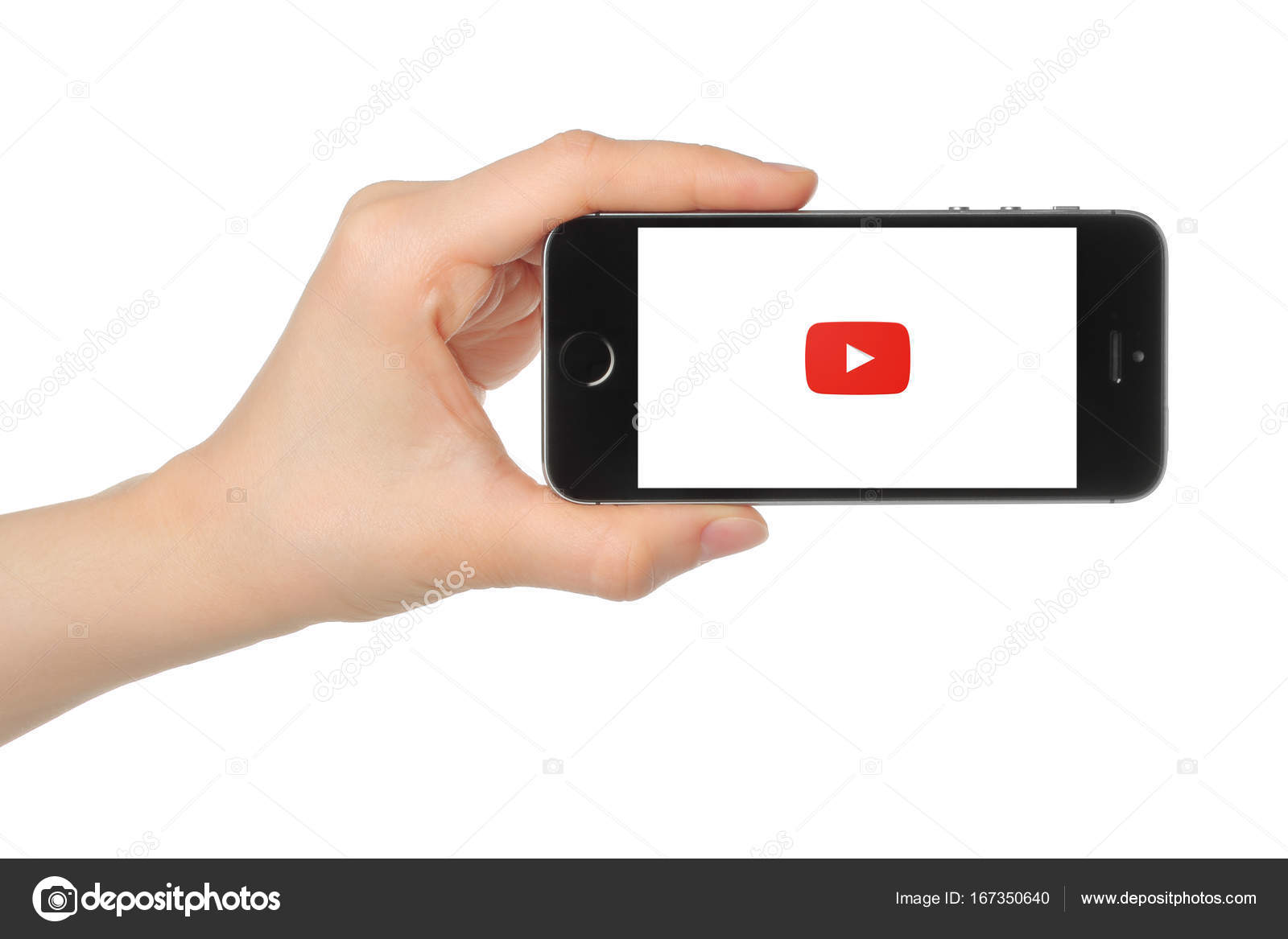 Hand Holds Iphone 5s Space Gray With Youtube Logo Stock Editorial