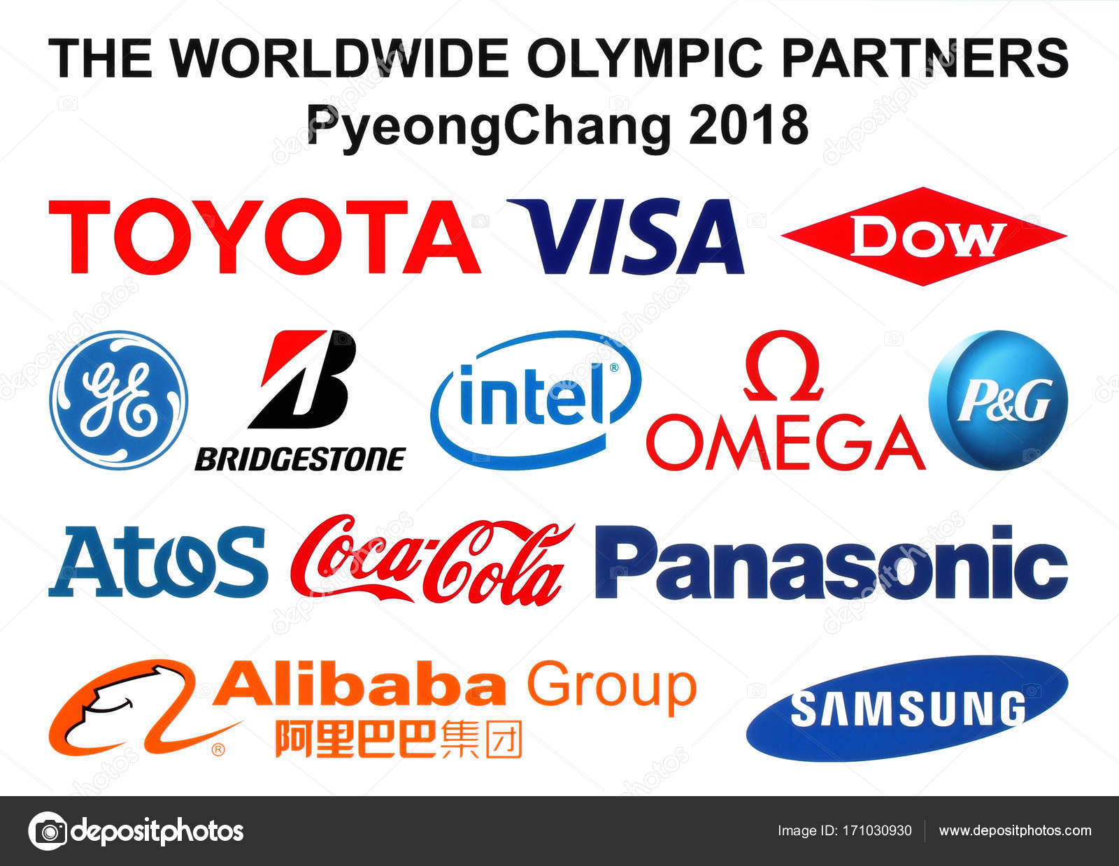 Partners logos of the 2018 Winter Olympic Games — Stock Photo